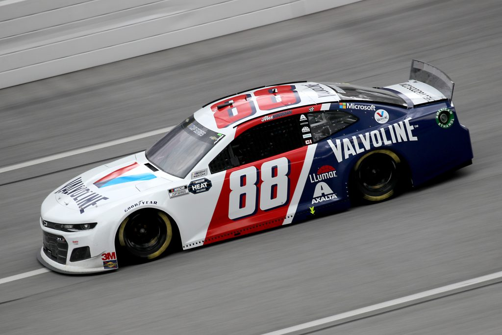TALLADEGA, ALABAMA - JUNE 22: Alex Bowman, driver of the #88 Valvoline Chevrolet, drives during the NASCAR Cup Series GEICO 500 at Talladega Superspeedway on June 22, 2020 in Talladega, Alabama. (Photo by Chris Graythen/Getty Images) | Getty Images