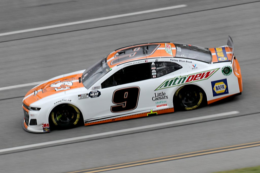 TALLADEGA, ALABAMA - JUNE 22: Chase Elliott, driver of the #9 Mountain Dew/Little Caesars Chevrolet, drives during the NASCAR Cup Series GEICO 500 at Talladega Superspeedway on June 22, 2020 in Talladega, Alabama. (Photo by Chris Graythen/Getty Images) | Getty Images