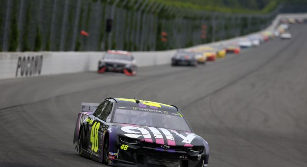 LONG POND, PENNSYLVANIA - JULY 28: Jimmie Johnson, driver of the #48 Ally Chevrolet, leads a pack of cars during the Monster Energy NASCAR Cup Series Gander RV 400 at Pocono Raceway on July 28, 2019 in Long Pond, Pennsylvania. (Photo by Chris Trotman/Getty Images) | Getty Images