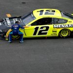 TALLADEGA, ALABAMA - JUNE 22:  Bubba Wallace, driver of the #43 Victory Junction Chevrolet, congratulates Ryan Blaney, driver of the #12 Menards/Sylvania Ford, after Blaney won the NASCAR Cup Series GEICO 500 at Talladega Superspeedway on June 22, 2020 in Talladega, Alabama. (Photo by Brian Lawdermilk/Getty Images) | Getty Images