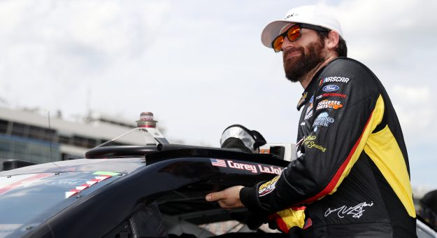 CONCORD, NORTH CAROLINA - MAY 24: Corey LaJoie, driver of the #32 ARK.io Ford, exits his car during qualifying for the NASCAR Cup Series Coca-Cola 600 at Charlotte Motor Speedway on May 24, 2020 in Concord, North Carolina. (Photo by Chris Graythen/Getty Images) | Getty Images