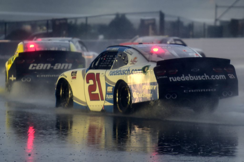 CONCORD, NORTH CAROLINA - OCTOBER 10: Kaz Grala, driver of the #21 ruedebusch.com Chevrolet, drives in the rain during the NASCAR Xfinity Series Drive for the Cure 250 presented by Blue Cross Blue Shield of North Carolina at Charlotte Motor Speedway on October 10, 2020 in Concord, North Carolina. (Photo by Jared C. Tilton/Getty Images)   Getty Images