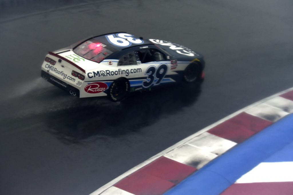 CONCORD, NORTH CAROLINA - OCTOBER 10: Ryan Sieg, driver of the #39 CMRRoofing.com Chevrolet, drives in the rain during the NASCAR Xfinity Series Drive for the Cure 250 presented by Blue Cross Blue Shield of North Carolina at Charlotte Motor Speedway on October 10, 2020 in Concord, North Carolina. (Photo by Jared C. Tilton/Getty Images) | Getty Images