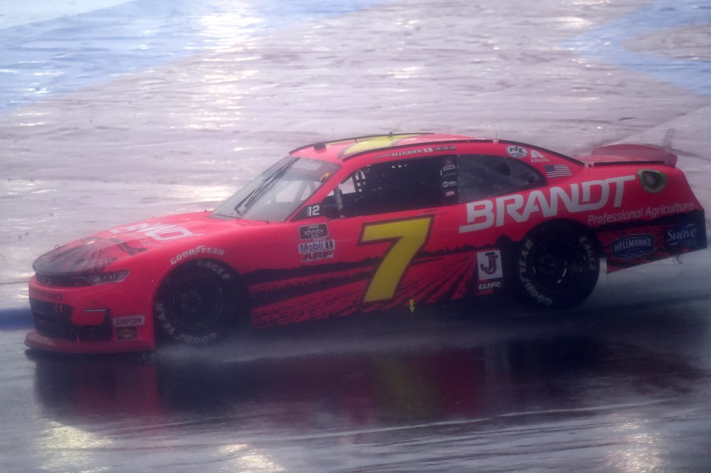 CONCORD, NORTH CAROLINA - OCTOBER 10: Justin Allgaier, driver of the #7 BRANDT Chevrolet, drives in the rain during the NASCAR Xfinity Series Drive for the Cure 250 presented by Blue Cross Blue Shield of North Carolina at Charlotte Motor Speedway on October 10, 2020 in Concord, North Carolina. (Photo by Jared C. Tilton/Getty Images) | Getty Images