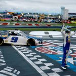CONCORD, NORTH CAROLINA - OCTOBER 11: Chase Elliott, driver of the #9 NAPA Auto Parts Chevrolet, celebrates after winning  the NASCAR Cup Series Bank of America ROVAL 400 at Charlotte Motor Speedway on October 11, 2020 in Concord, North Carolina. (Photo by Sean Gardner/Getty Images) | Getty Images