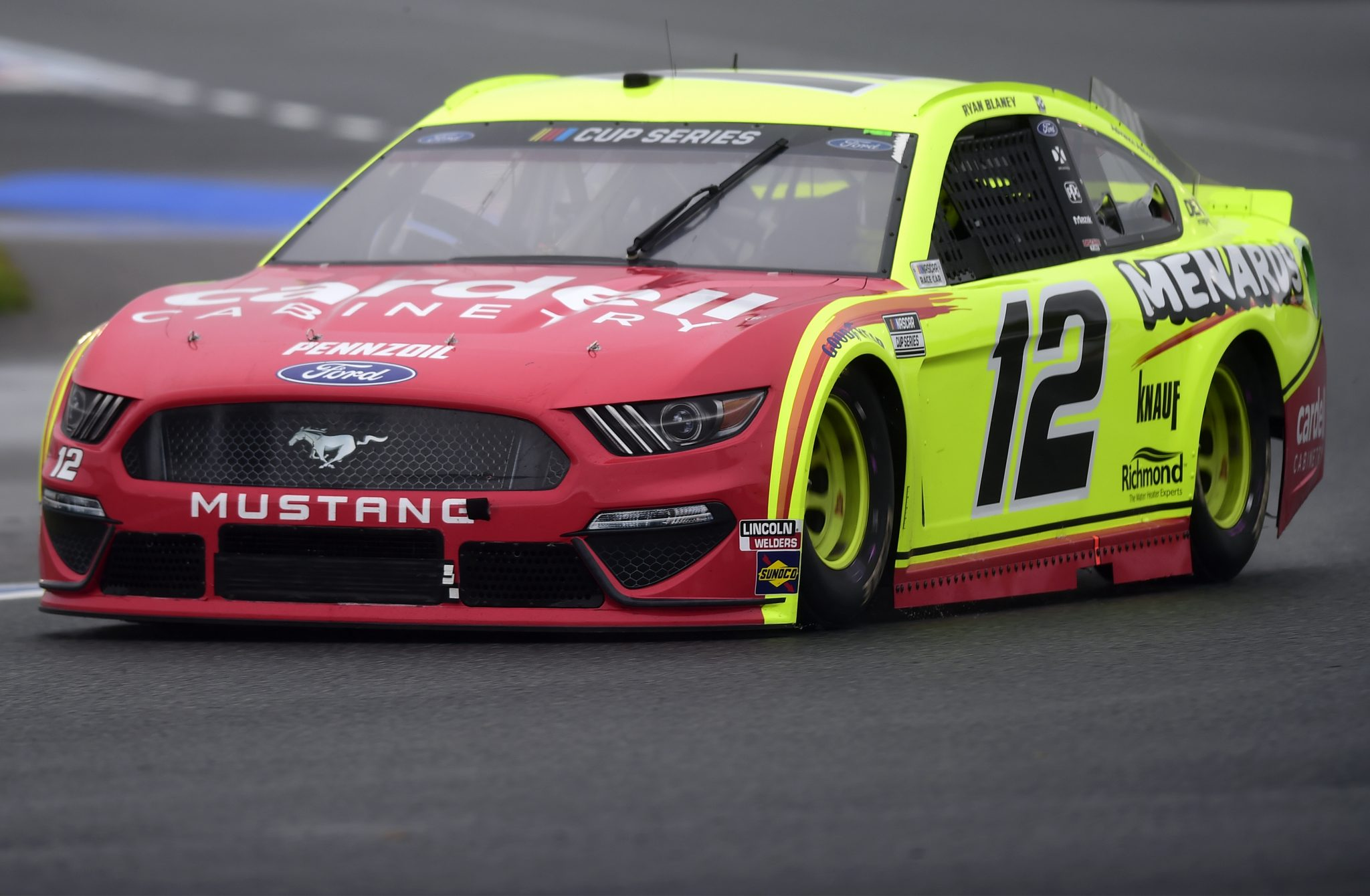 CONCORD, NORTH CAROLINA - OCTOBER 11: Ryan Blaney, driver of the #12 Menards/Cardell Cabinetry Ford, drives during the NASCAR Cup Series Bank of America ROVAL 400 at Charlotte Motor Speedway on October 11, 2020 in Concord, North Carolina. (Photo by Jared C. Tilton/Getty Images) | Getty Images