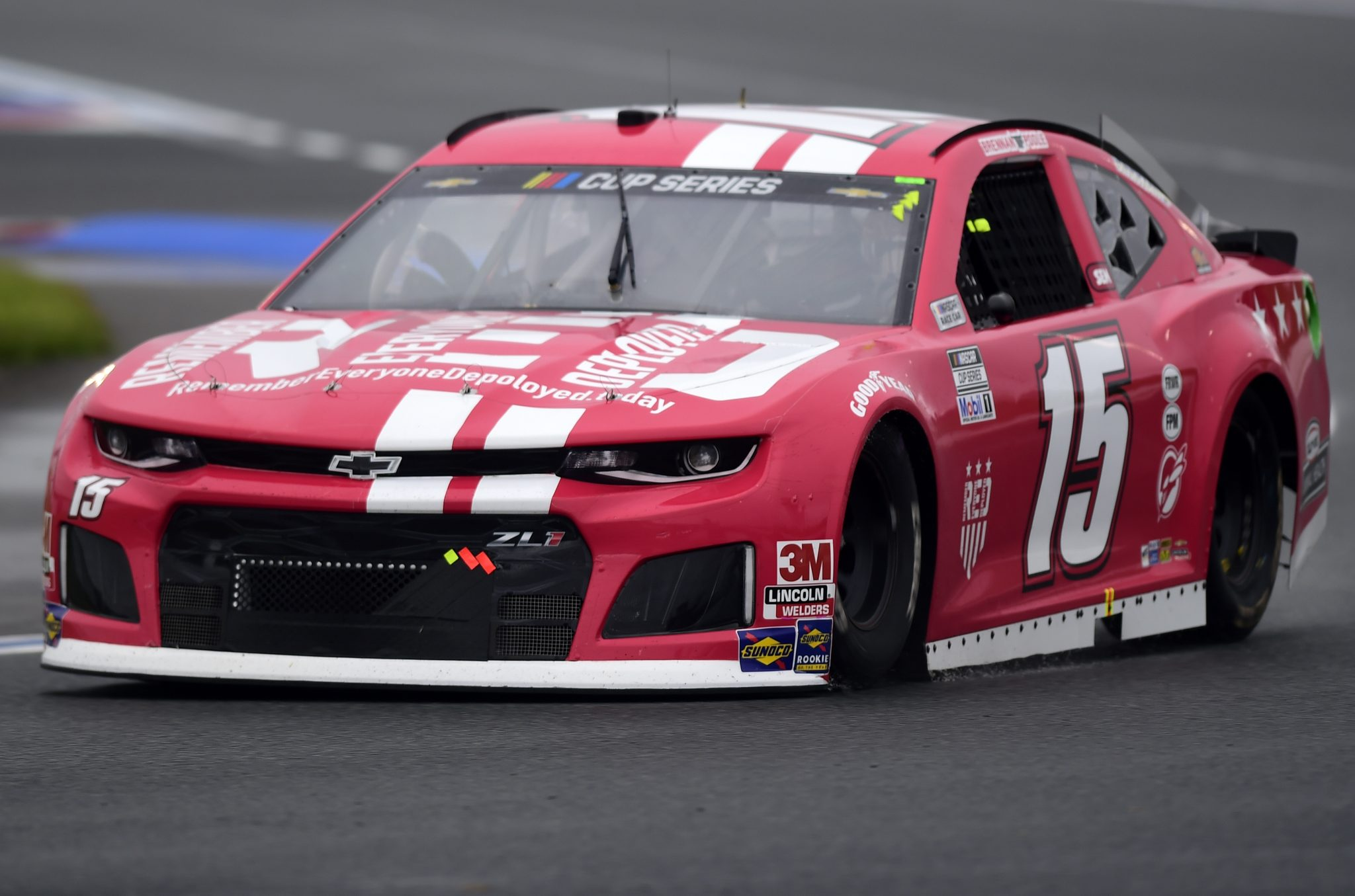 CONCORD, NORTH CAROLINA - OCTOBER 11: Brennan Poole, driver of the #15 Remember Everyone Deployed Chevrolet, drives during the NASCAR Cup Series Bank of America ROVAL 400 at Charlotte Motor Speedway on October 11, 2020 in Concord, North Carolina. (Photo by Jared C. Tilton/Getty Images) | Getty Images