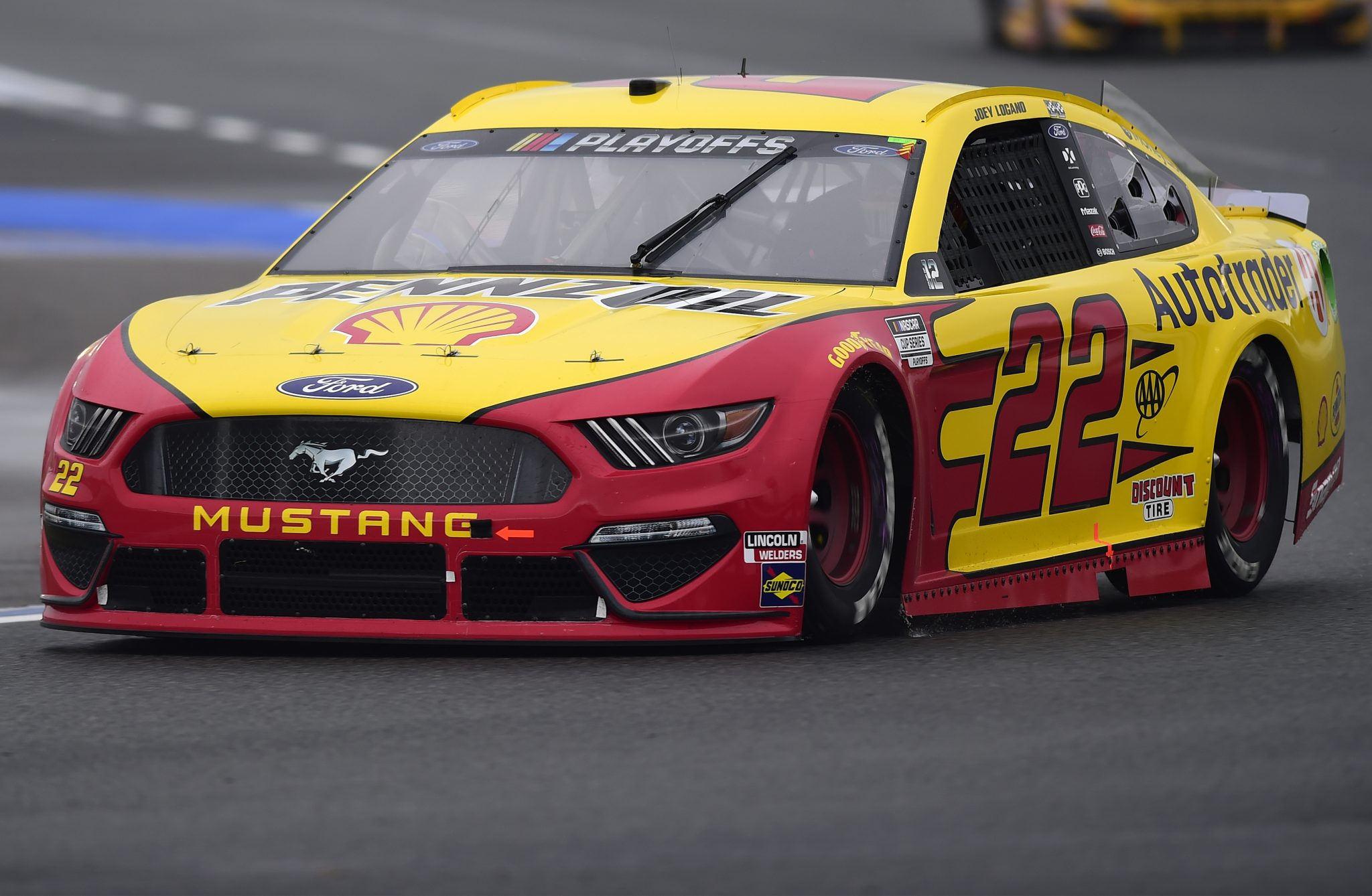 CONCORD, NORTH CAROLINA - OCTOBER 11: Joey Logano, driver of the #22 Shell Pennzoil/Autotrader Ford, drives during the NASCAR Cup Series Bank of America ROVAL 400 at Charlotte Motor Speedway on October 11, 2020 in Concord, North Carolina. (Photo by Jared C. Tilton/Getty Images) | Getty Images