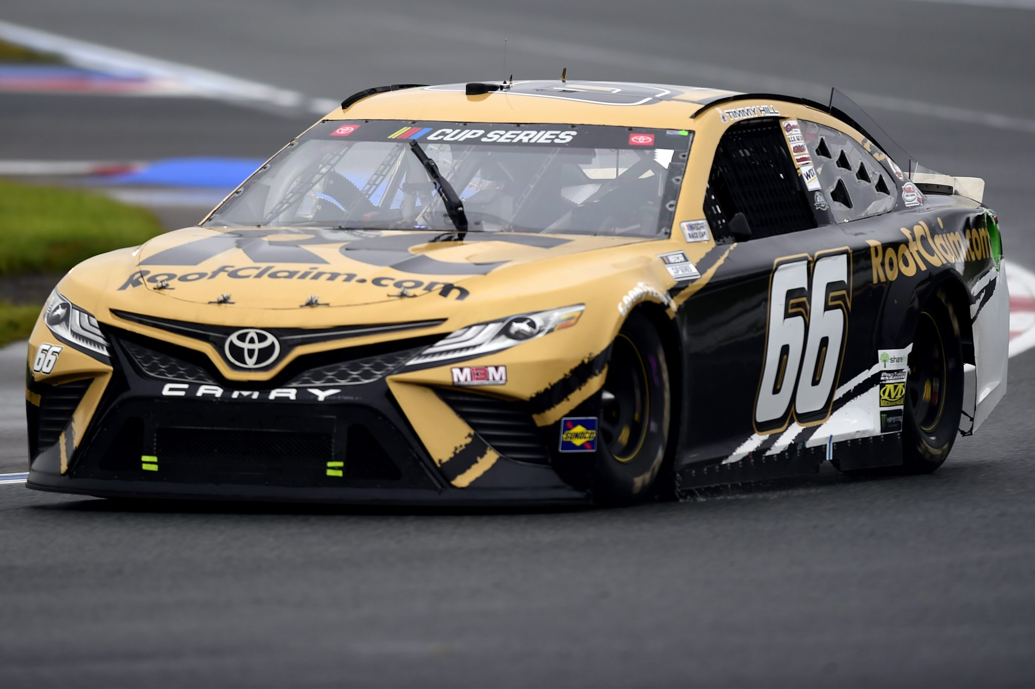 CONCORD, NORTH CAROLINA - OCTOBER 11: Timmy Hill, driver of the #66 RoofClaim.com Toyota, drives during the NASCAR Cup Series Bank of America ROVAL 400 at Charlotte Motor Speedway on October 11, 2020 in Concord, North Carolina. (Photo by Jared C. Tilton/Getty Images) | Getty Images