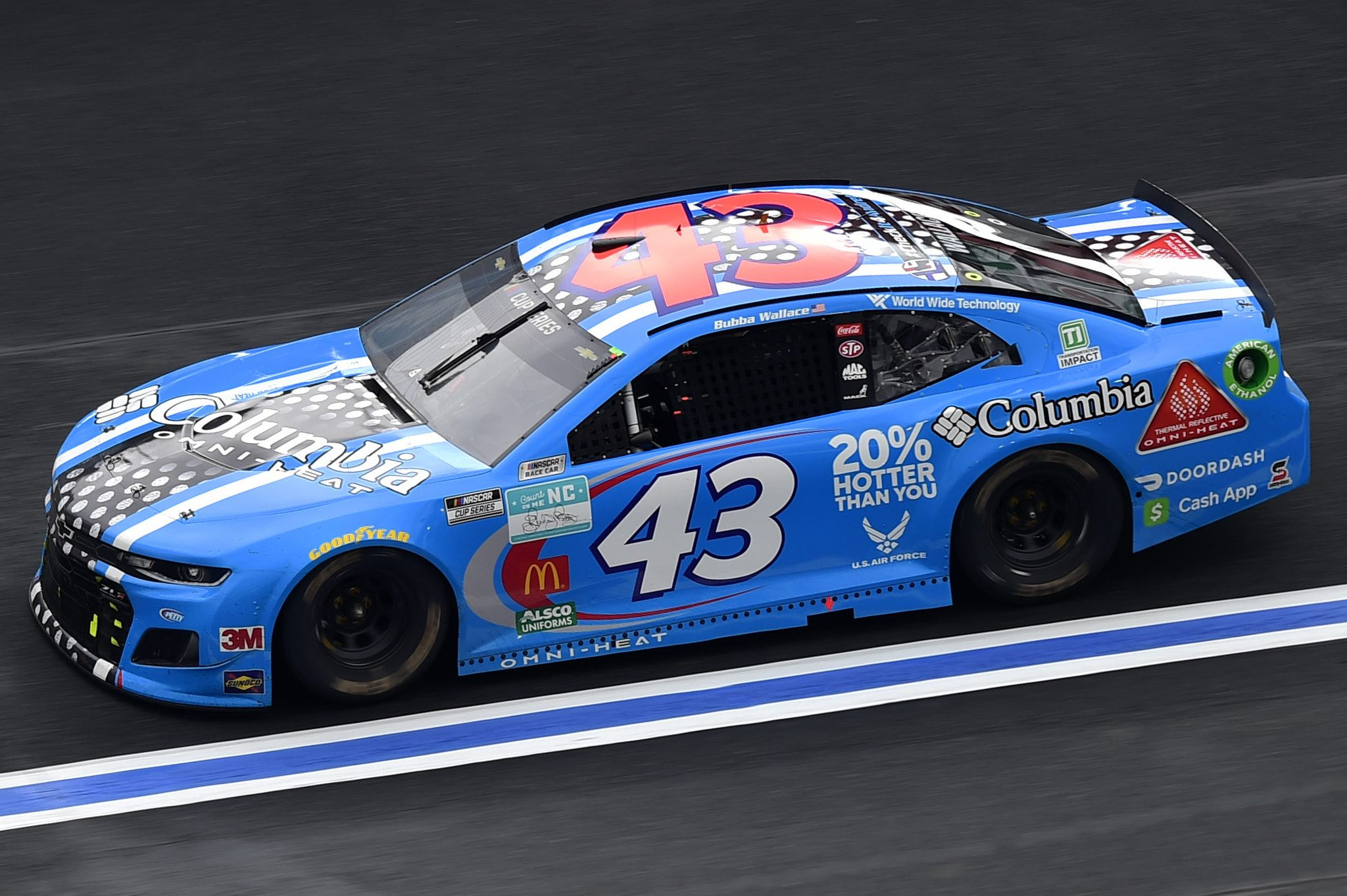 CONCORD, NORTH CAROLINA - OCTOBER 11: Bubba Wallace, driver of the #43 Columbia Omni-Heat Chevrolet, drives during the NASCAR Cup Series Bank of America ROVAL 400 at Charlotte Motor Speedway on October 11, 2020 in Concord, North Carolina. (Photo by Jared C. Tilton/Getty Images) | Getty Images