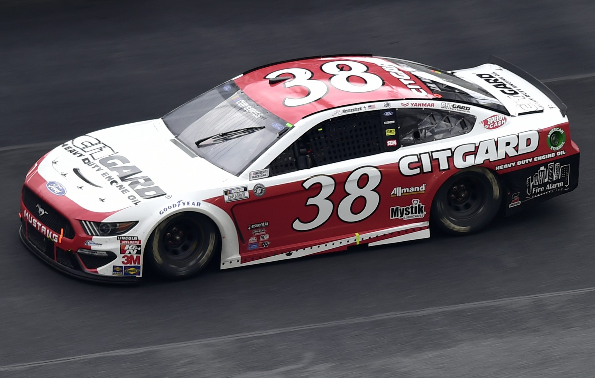 CONCORD, NORTH CAROLINA - OCTOBER 11: John H. Nemechek, driver of the #38 Citgard Ford, drives during the NASCAR Cup Series Bank of America ROVAL 400 at Charlotte Motor Speedway on October 11, 2020 in Concord, North Carolina. (Photo by Jared C. Tilton/Getty Images)   Getty Images