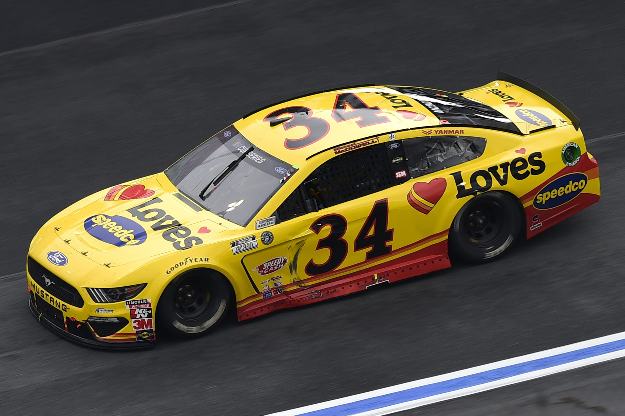 CONCORD, NORTH CAROLINA - OCTOBER 11: Michael McDowell, driver of the #34 Love's Travel Stops Ford, drives during the NASCAR Cup Series Bank of America ROVAL 400 at Charlotte Motor Speedway on October 11, 2020 in Concord, North Carolina. (Photo by Jared C. Tilton/Getty Images) | Getty Images