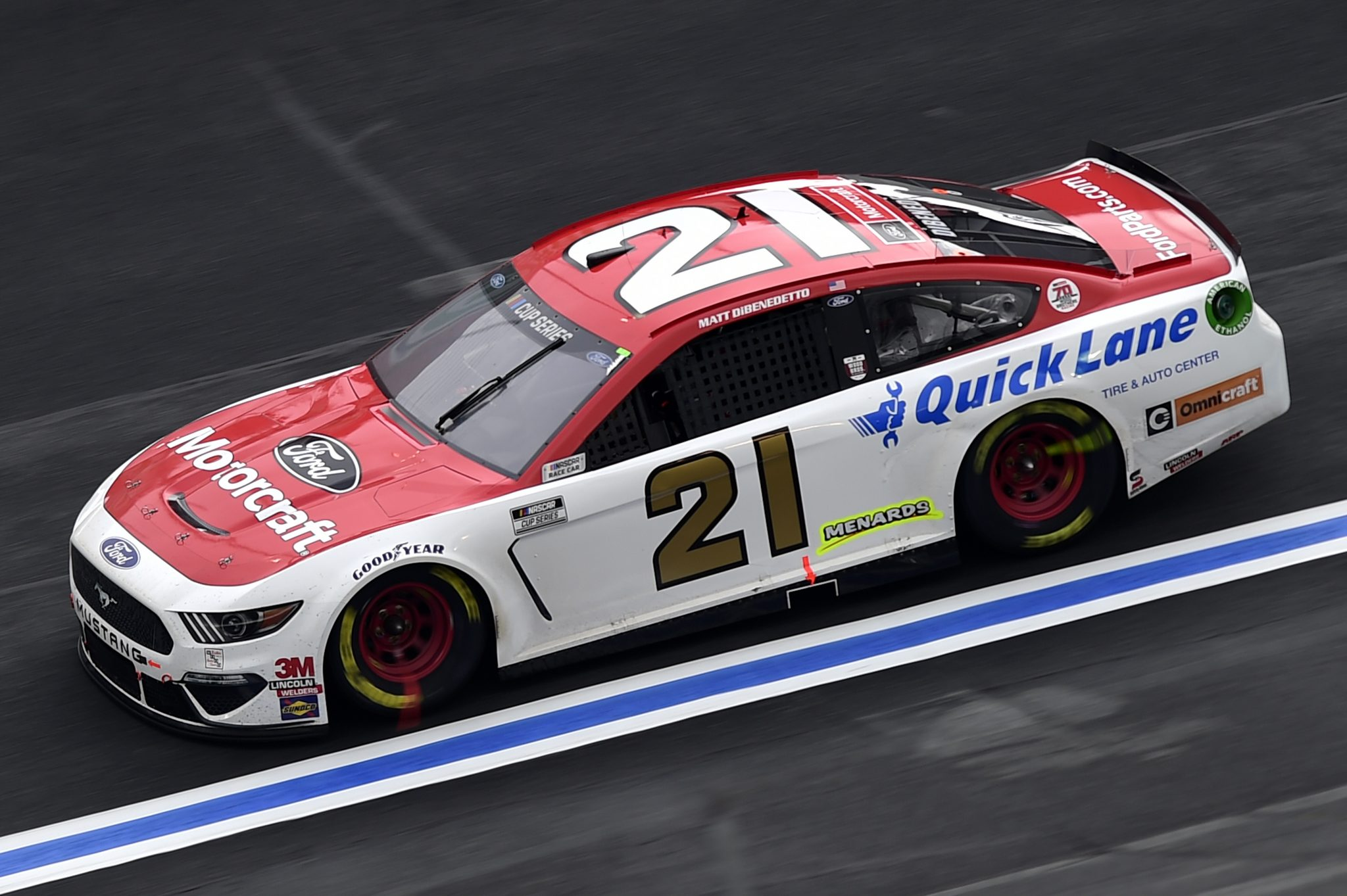 CONCORD, NORTH CAROLINA - OCTOBER 11: Matt DiBenedetto, driver of the #21 Motorcraft/Quick Lane Ford, drives during the NASCAR Cup Series Bank of America ROVAL 400 at Charlotte Motor Speedway on October 11, 2020 in Concord, North Carolina. (Photo by Jared C. Tilton/Getty Images) | Getty Images