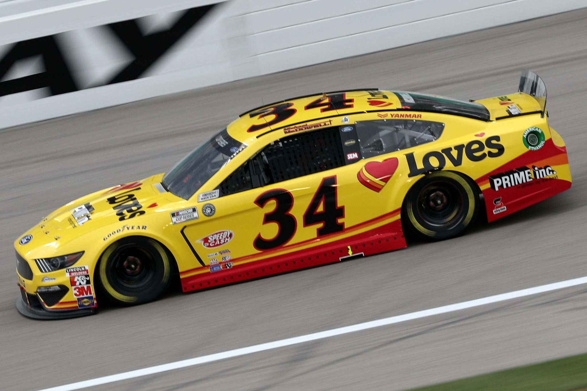 KANSAS CITY, KANSAS - OCTOBER 18: Michael McDowell, driver of the #34 Love's Travel Stops Ford, drives during the NASCAR Cup Series Hollywood Casino 400 at Kansas Speedway on October 18, 2020 in Kansas City, Kansas. (Photo by Chris Graythen/Getty Images) | Getty Images