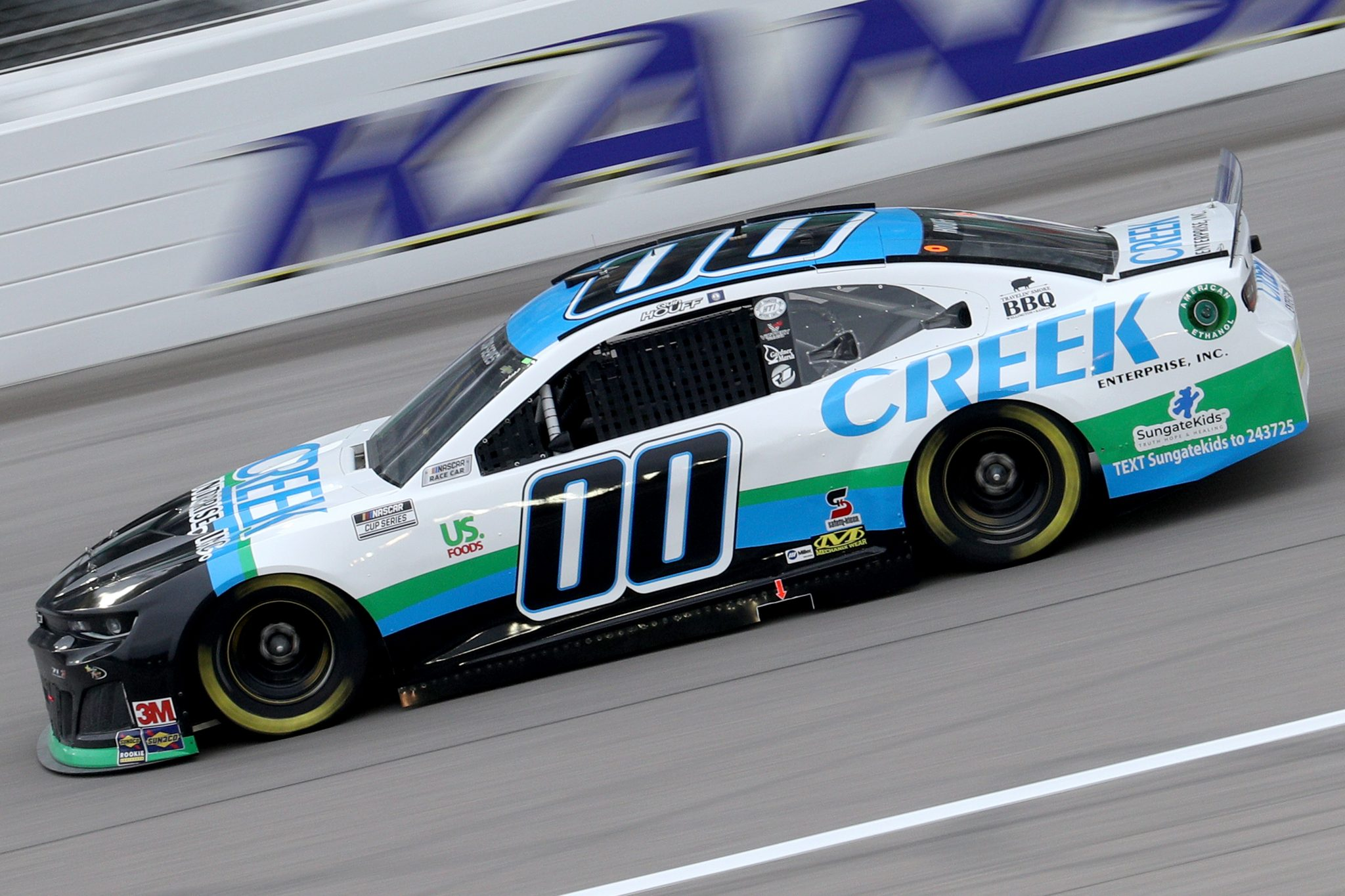 KANSAS CITY, KANSAS - OCTOBER 18: Quin Houff, driver of the #00 CREEK Enterprises Inc. Chevrolet, drives during the NASCAR Cup Series Hollywood Casino 400 at Kansas Speedway on October 18, 2020 in Kansas City, Kansas. (Photo by Chris Graythen/Getty Images) | Getty Images
