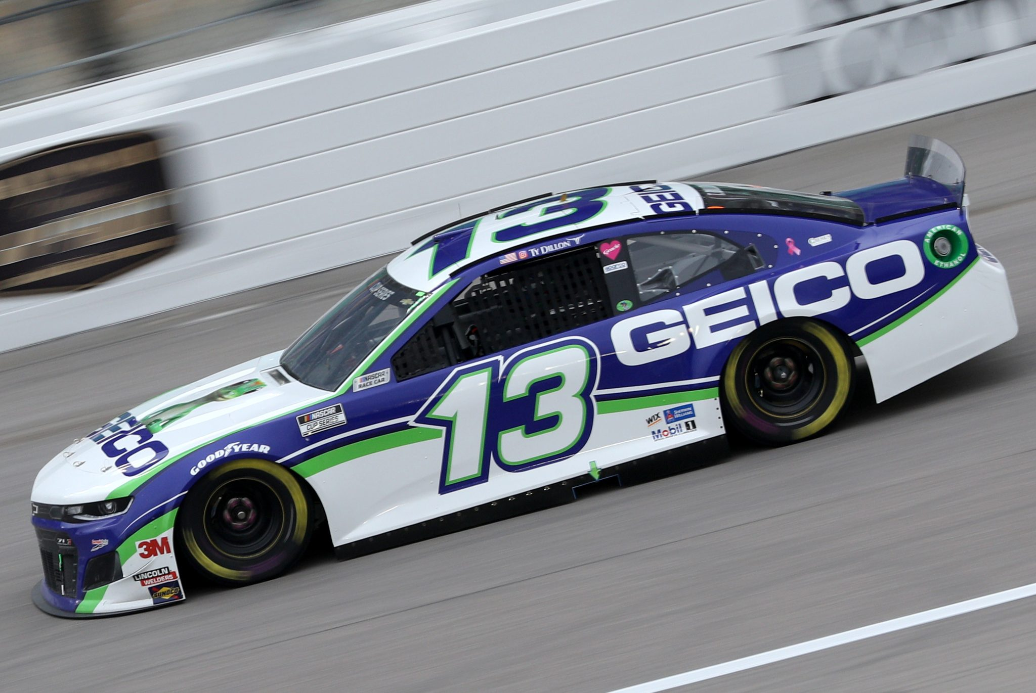 KANSAS CITY, KANSAS - OCTOBER 18: Ty Dillon, driver of the #13 GEICO Chevrolet, drives during the NASCAR Cup Series Hollywood Casino 400 at Kansas Speedway on October 18, 2020 in Kansas City, Kansas. (Photo by Chris Graythen/Getty Images) | Getty Images