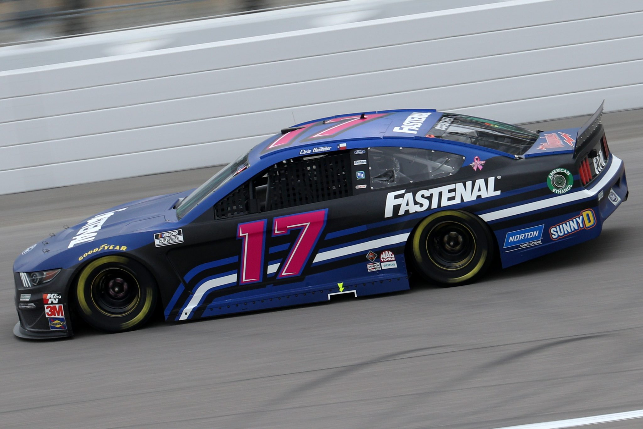 KANSAS CITY, KANSAS - OCTOBER 18: Chris Buescher, driver of the #17 Fastenal Ford, drives during the NASCAR Cup Series Hollywood Casino 400 at Kansas Speedway on October 18, 2020 in Kansas City, Kansas. (Photo by Chris Graythen/Getty Images) | Getty Images