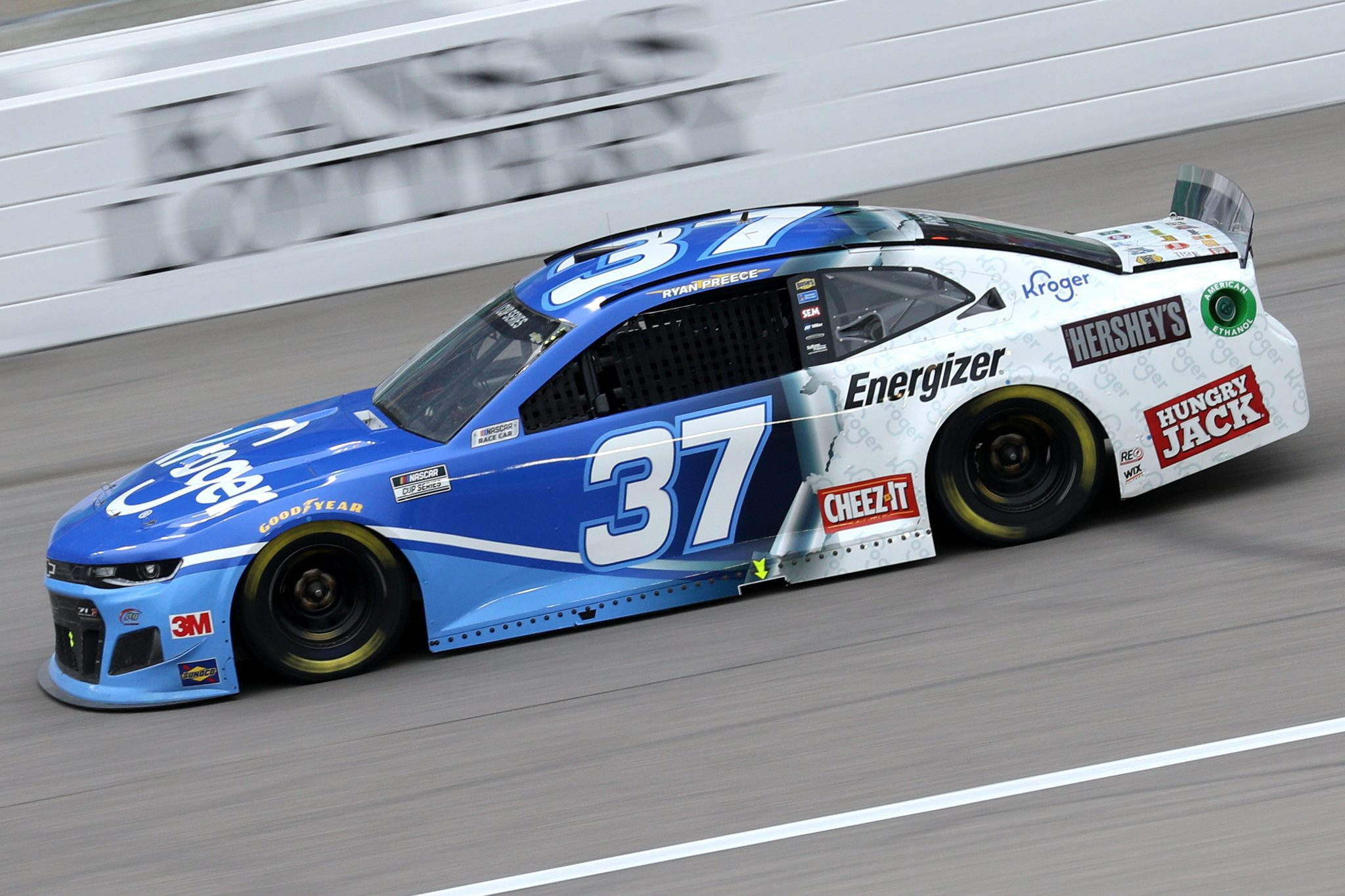 KANSAS CITY, KANSAS - OCTOBER 18: Ryan Preece, driver of the #37 Kroger Chevrolet, drives during the NASCAR Cup Series Hollywood Casino 400 at Kansas Speedway on October 18, 2020 in Kansas City, Kansas. (Photo by Chris Graythen/Getty Images) | Getty Images