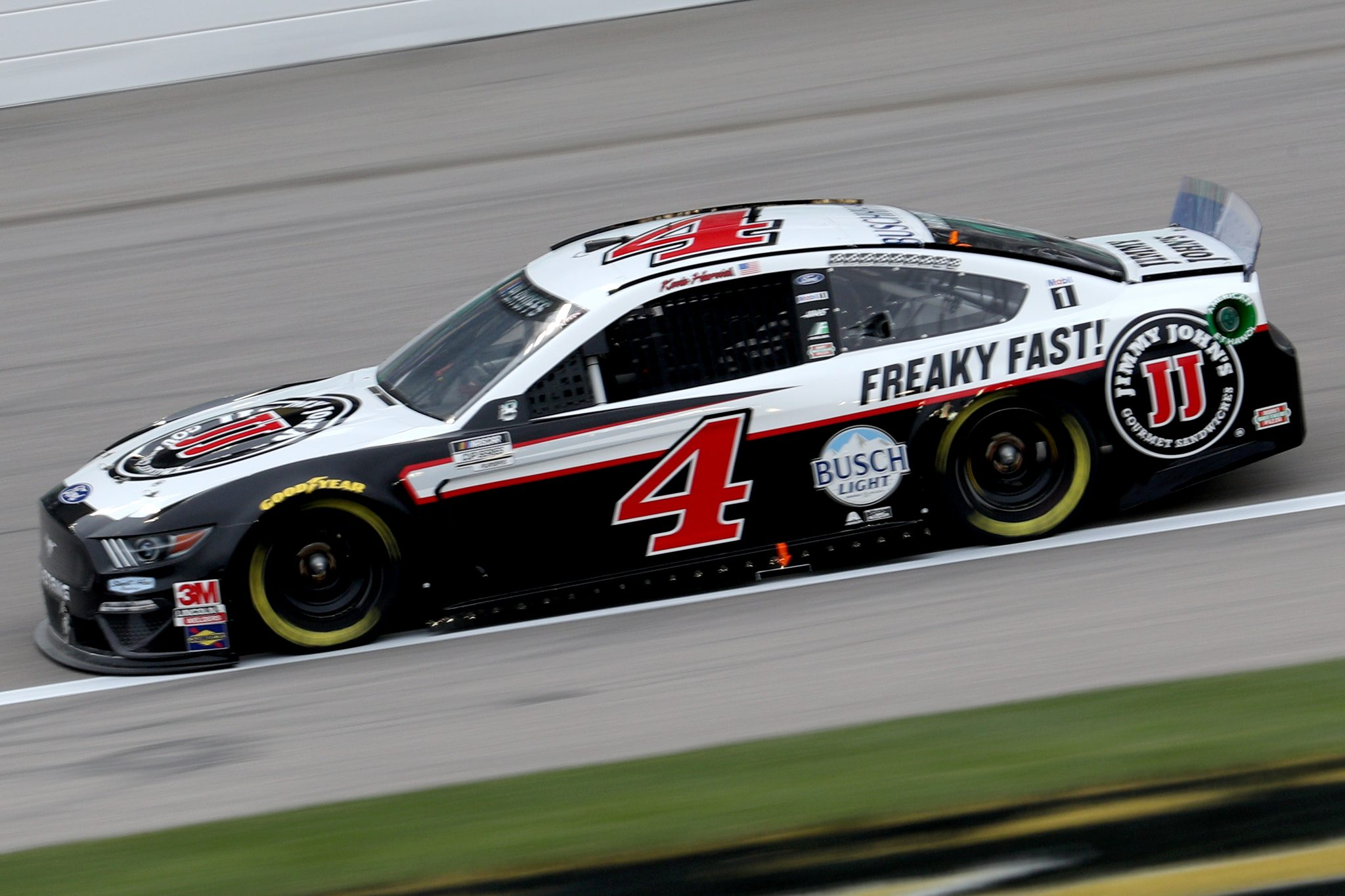 KANSAS CITY, KANSAS - OCTOBER 18: Kevin Harvick, driver of the #4 Jimmy John's Ford, drives during the NASCAR Cup Series Hollywood Casino 400 at Kansas Speedway on October 18, 2020 in Kansas City, Kansas. (Photo by Chris Graythen/Getty Images) | Getty Images