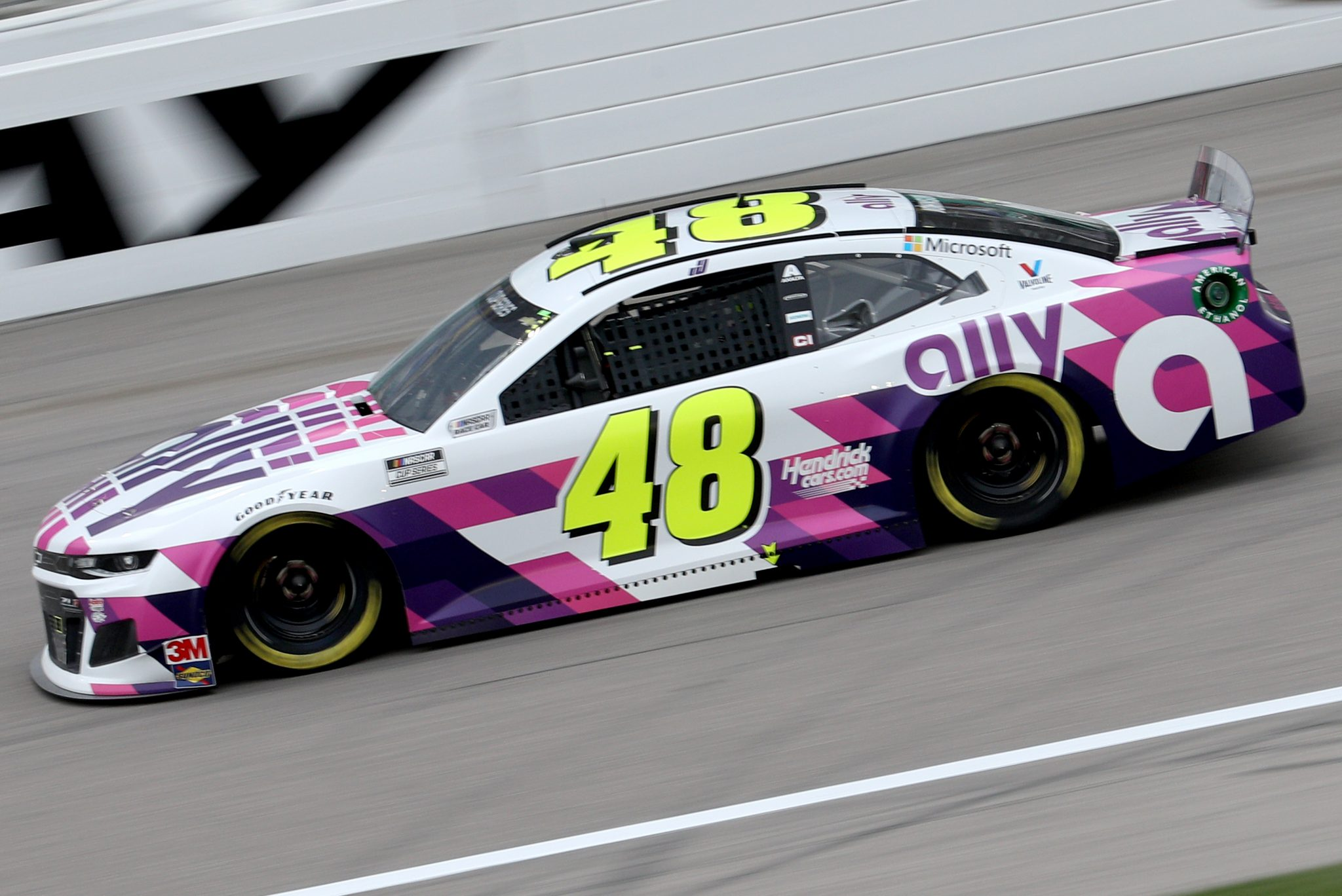 KANSAS CITY, KANSAS - OCTOBER 18: Jimmie Johnson, driver of the #48 Ally Chevrolet, drives during the NASCAR Cup Series Hollywood Casino 400 at Kansas Speedway on October 18, 2020 in Kansas City, Kansas. (Photo by Chris Graythen/Getty Images) | Getty Images