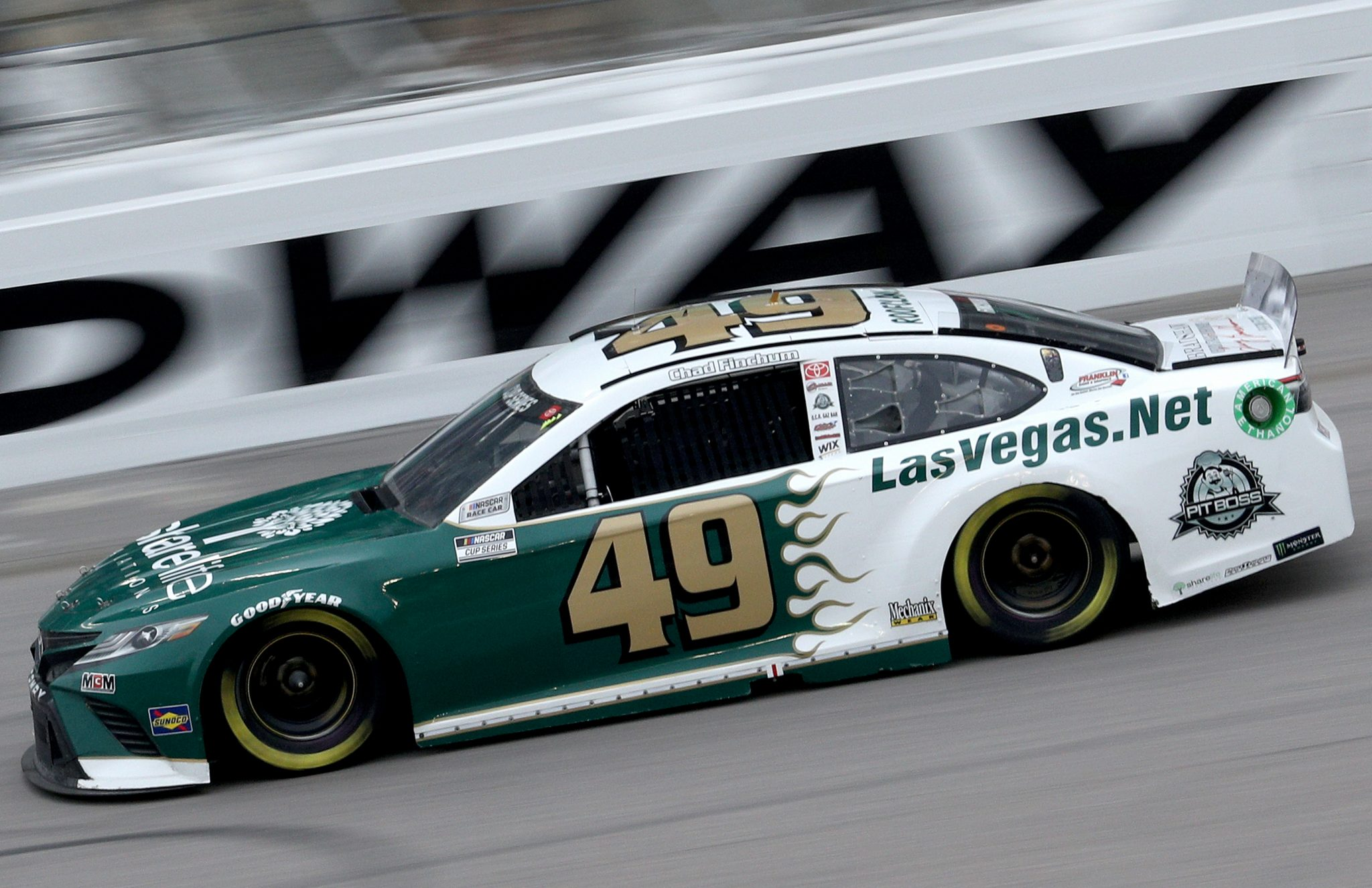 KANSAS CITY, KANSAS - OCTOBER 18: Chad Finchum, driver of the #49 LasVegas.net Toyota, drives during the NASCAR Cup Series Hollywood Casino 400 at Kansas Speedway on October 18, 2020 in Kansas City, Kansas. (Photo by Chris Graythen/Getty Images) | Getty Images