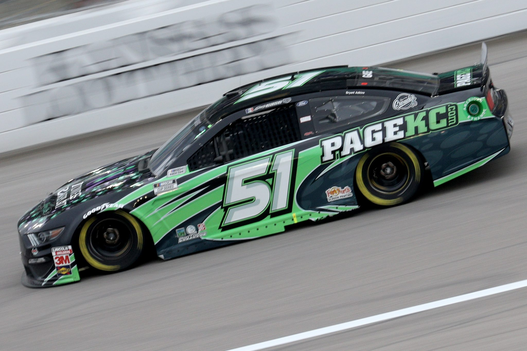 KANSAS CITY, KANSAS - OCTOBER 18: Joey Gase, driver of the #51 Ford, drives during the NASCAR Cup Series Hollywood Casino 400 at Kansas Speedway on October 18, 2020 in Kansas City, Kansas. (Photo by Chris Graythen/Getty Images) | Getty Images