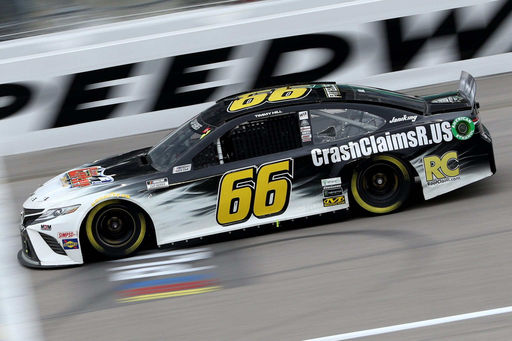 KANSAS CITY, KANSAS - OCTOBER 18: Timmy Hill, driver of the #66 CrashClaimsR.US Toyota, drives during the NASCAR Cup Series Hollywood Casino 400 at Kansas Speedway on October 18, 2020 in Kansas City, Kansas. (Photo by Chris Graythen/Getty Images) | Getty Images