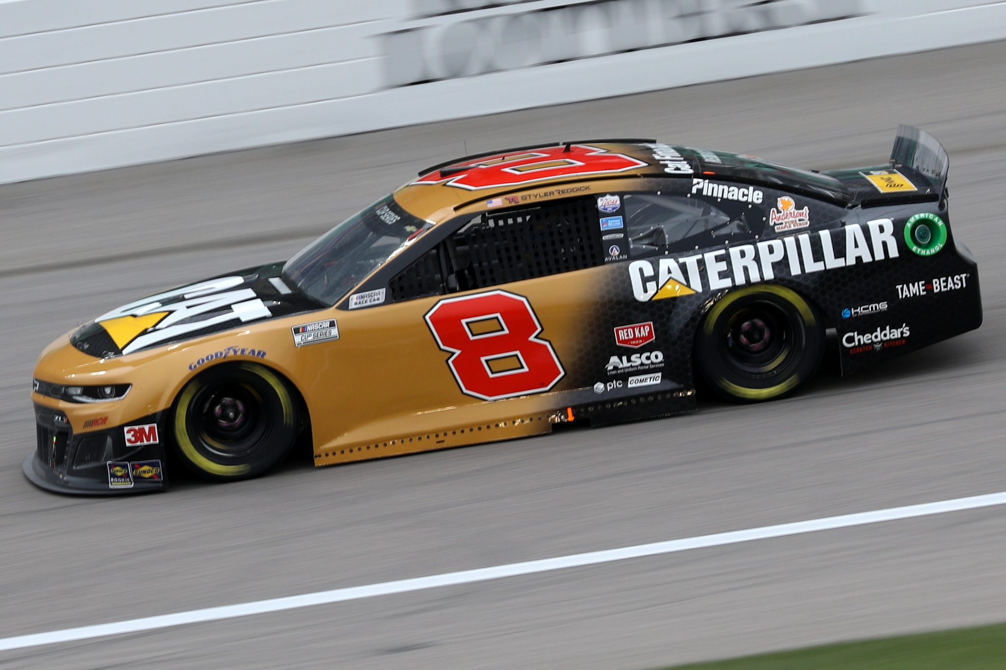 KANSAS CITY, KANSAS - OCTOBER 18: Tyler Reddick, driver of the #8 Caterpillar Chevrolet, drives during the NASCAR Cup Series Hollywood Casino 400 at Kansas Speedway on October 18, 2020 in Kansas City, Kansas. (Photo by Chris Graythen/Getty Images) | Getty Images