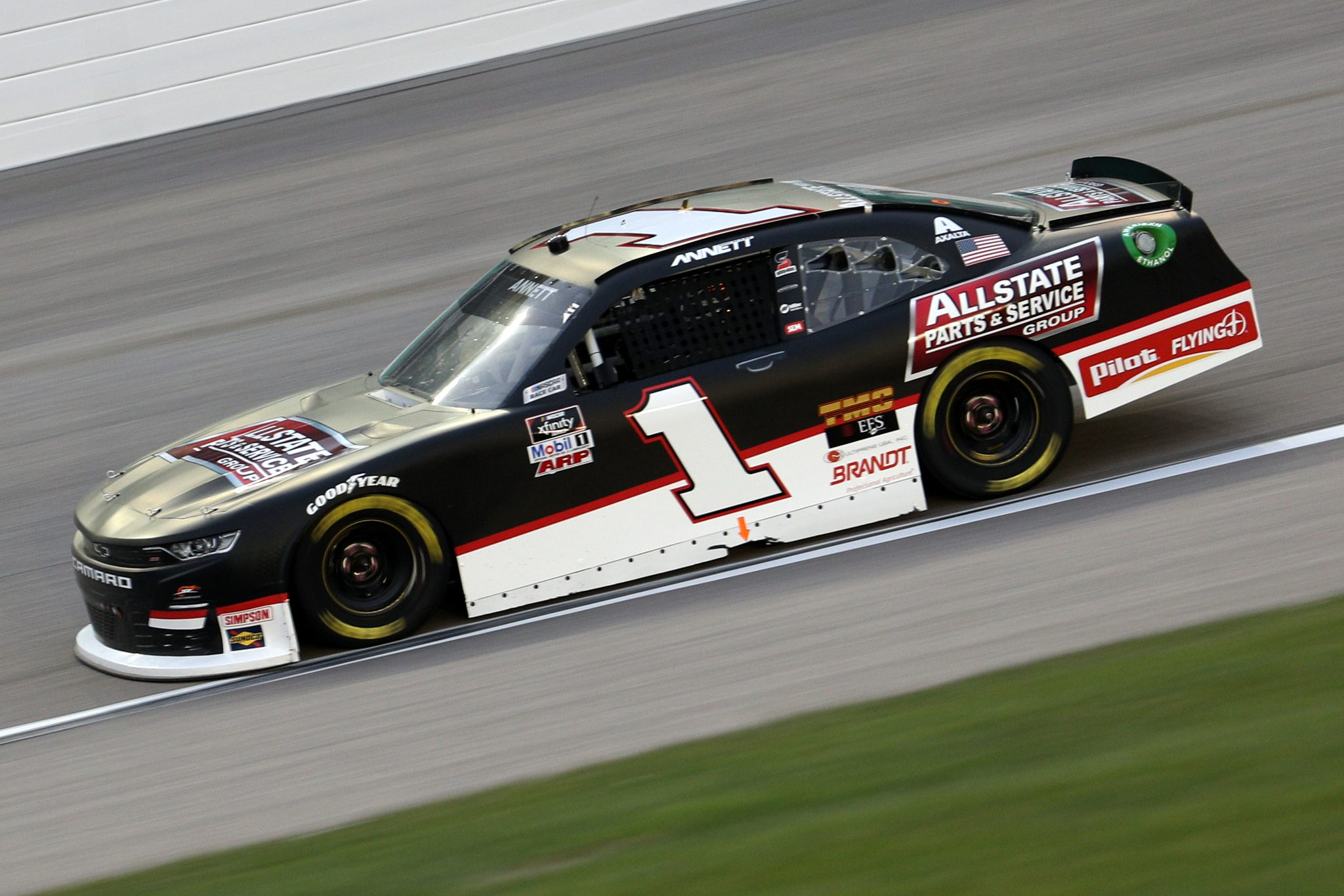 KANSAS CITY, KANSAS - OCTOBER 17: Michael Annett, driver of the #1 Allstate Parts & Service Group Chevrolet, drives during the NASCAR Xfinity Series Kansas Lottery 300 at Kansas Speedway on October 17, 2020 in Kansas City, Kansas. (Photo by Chris Graythen/Getty Images) | Getty Images