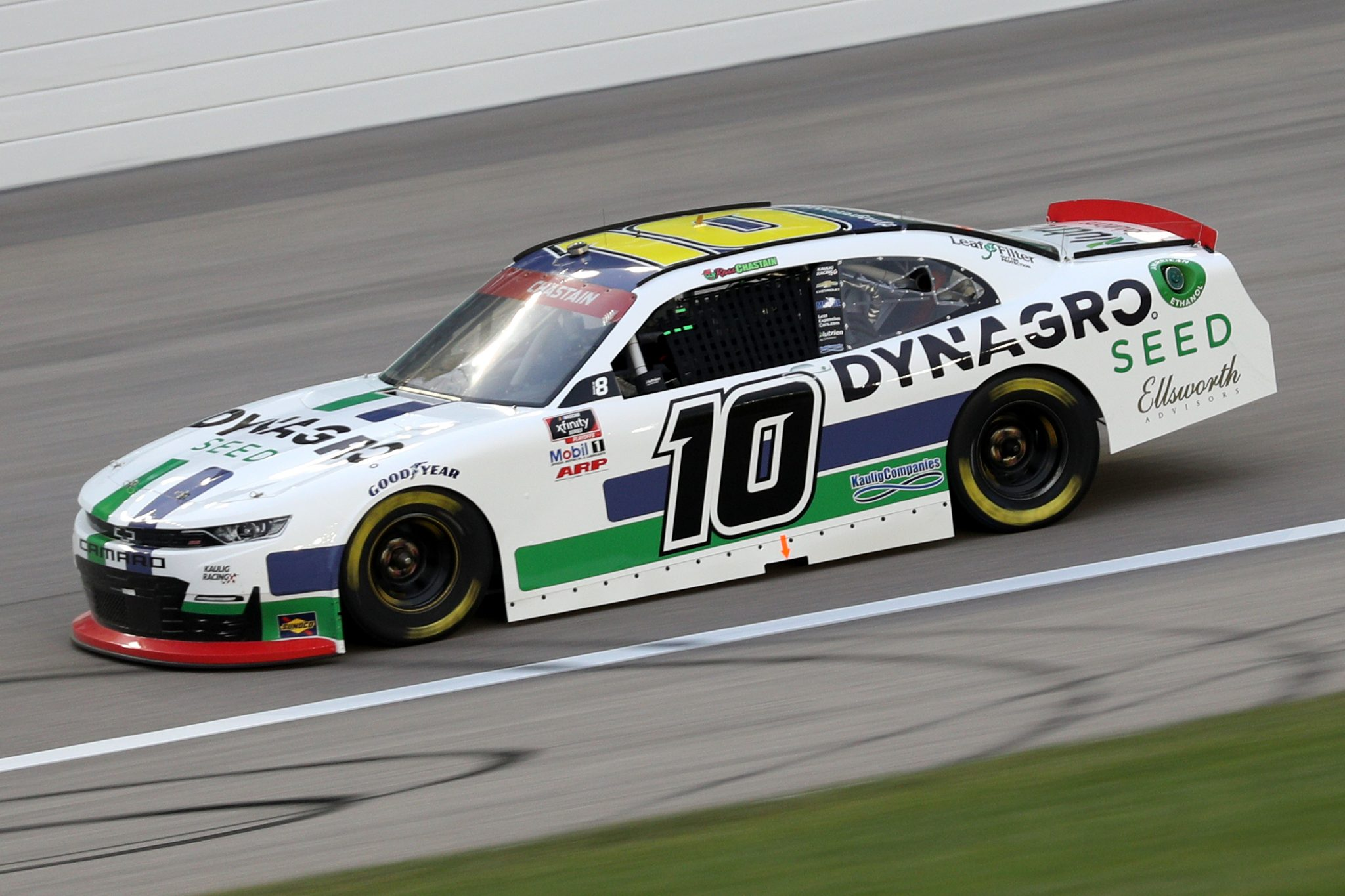 KANSAS CITY, KANSAS - OCTOBER 17: Ross Chastain, driver of the #10 Dyna-Gro Seed Chevrolet, drives during the NASCAR Xfinity Series Kansas Lottery 300 at Kansas Speedway on October 17, 2020 in Kansas City, Kansas. (Photo by Chris Graythen/Getty Images) | Getty Images