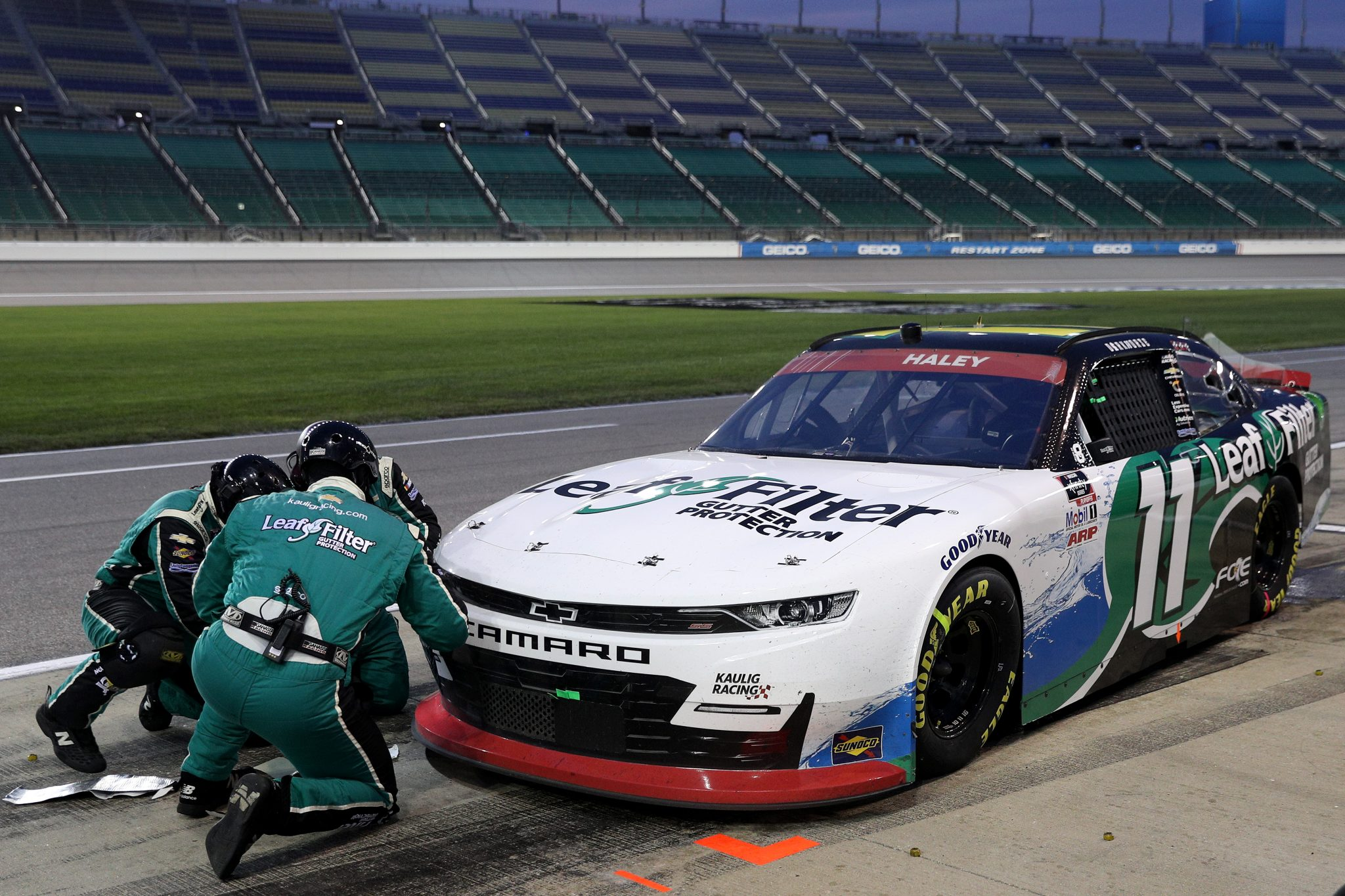 KANSAS CITY, KANSAS - OCTOBER 17: Justin Haley, driver of the #11 LeafFilter Gutter Protection Chevrolet, pits during the NASCAR Xfinity Series Kansas Lottery 300 at Kansas Speedway on October 17, 2020 in Kansas City, Kansas. (Photo by Chris Graythen/Getty Images) | Getty Images