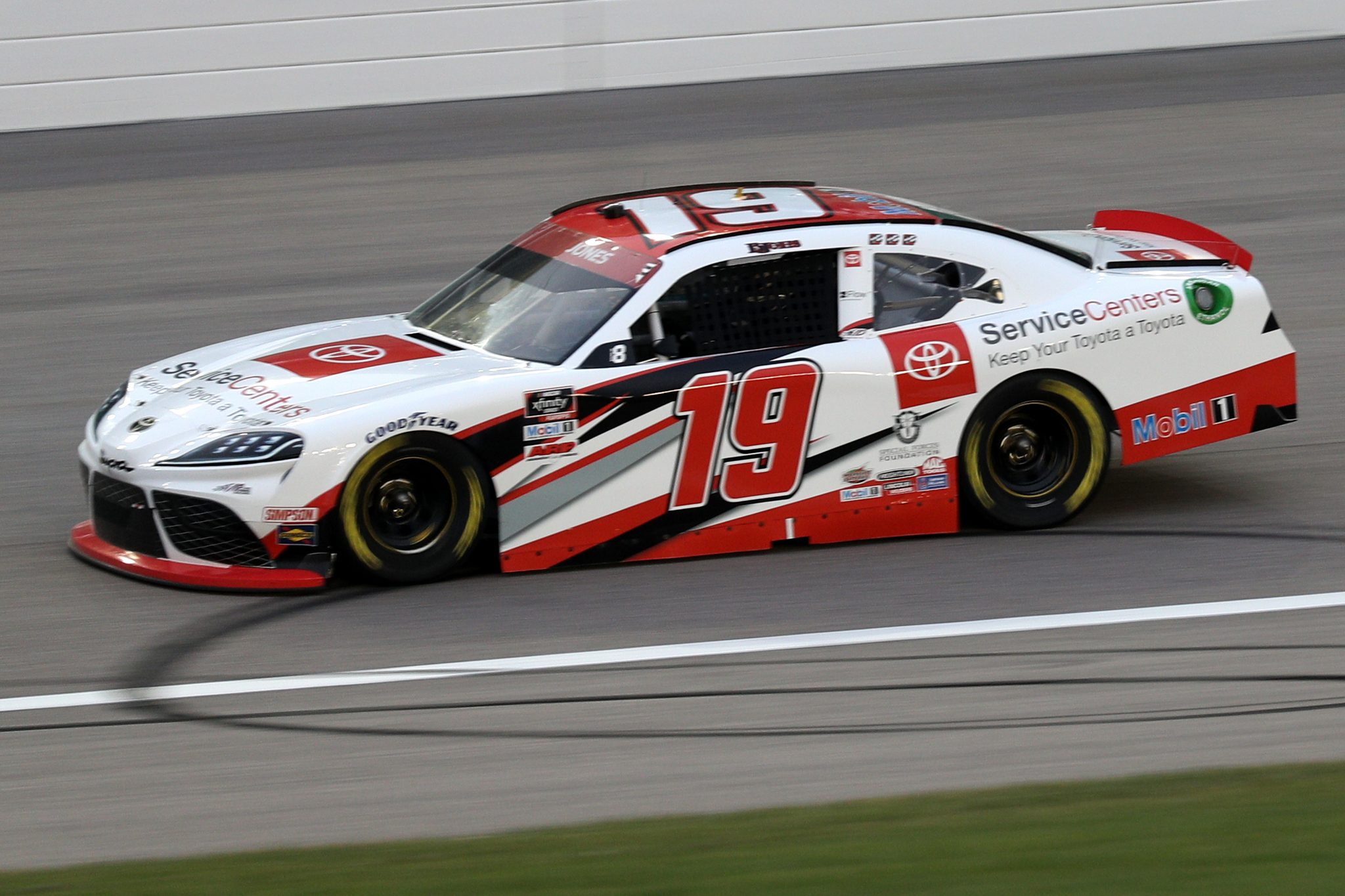 KANSAS CITY, KANSAS - OCTOBER 17: Brandon Jones, driver of the #19 Toyota Service Centers Toyota, drives during the NASCAR Xfinity Series Kansas Lottery 300 at Kansas Speedway on October 17, 2020 in Kansas City, Kansas. (Photo by Chris Graythen/Getty Images) | Getty Images
