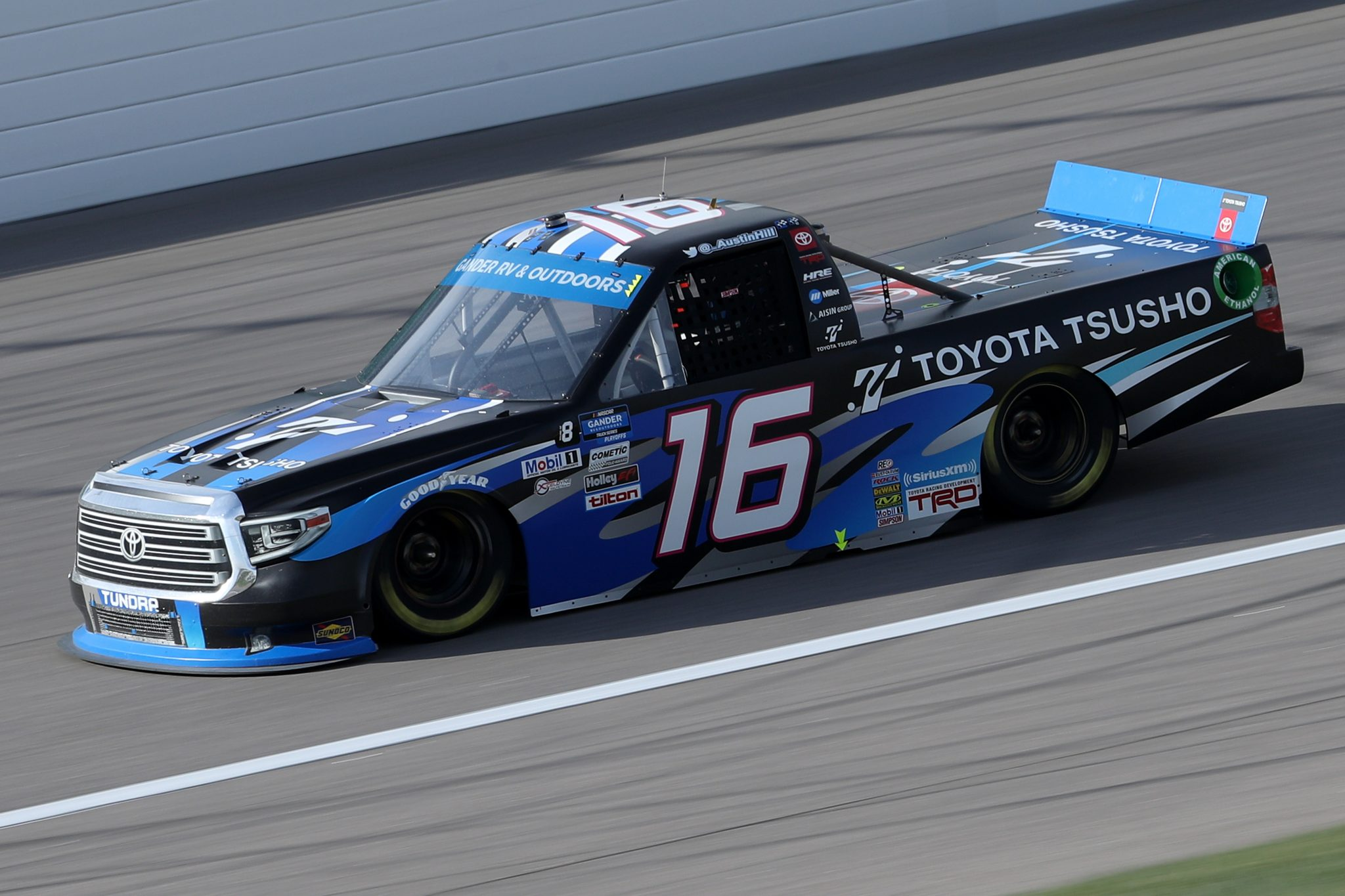 KANSAS CITY, KANSAS - OCTOBER 17: Austin Hill, driver of the #16 Toyota Tsusho Toyota, drives during the NASCAR Gander RV & Outdoors Truck Series Clean Harbors 200at Kansas Speedway on October 17, 2020 in Kansas City, Kansas. (Photo by Chris Graythen/Getty Images) | Getty Images