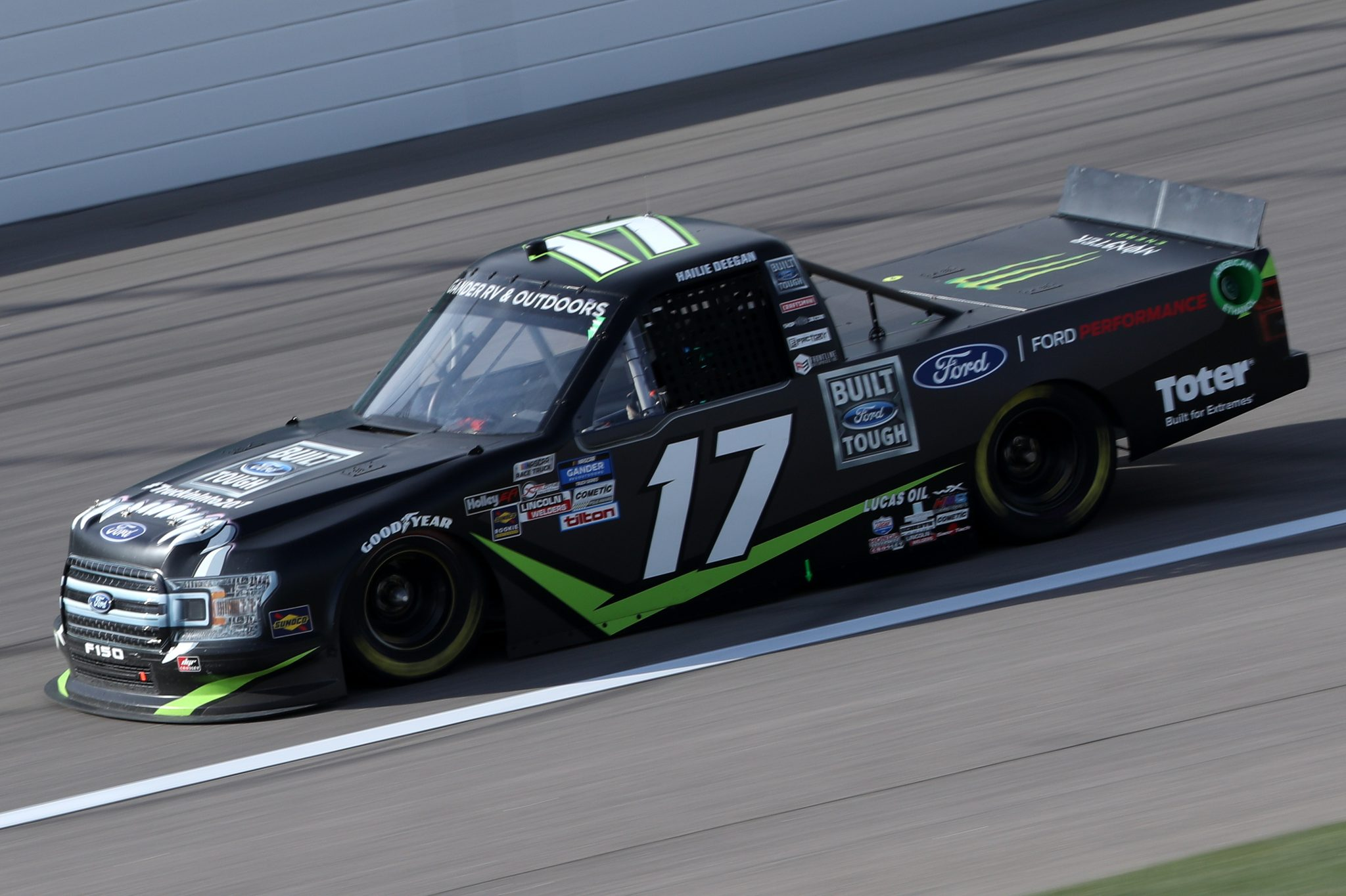 KANSAS CITY, KANSAS - OCTOBER 17: Hailie Deegan, driver of the #17 FORD Ford, drives during the NASCAR Gander RV & Outdoors Truck Series Clean Harbors 200at Kansas Speedway on October 17, 2020 in Kansas City, Kansas. (Photo by Chris Graythen/Getty Images) | Getty Images