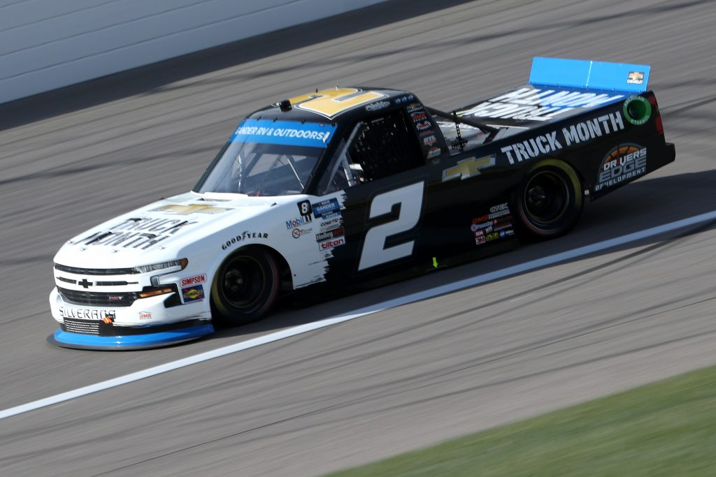 KANSAS CITY, KANSAS - OCTOBER 17: Sheldon Creed, driver of the #2 Chevy Truck Month Chevrolet, drives during the NASCAR Gander RV & Outdoors Truck Series Clean Harbors 200at Kansas Speedway on October 17, 2020 in Kansas City, Kansas. (Photo by Chris Graythen/Getty Images) | Getty Images