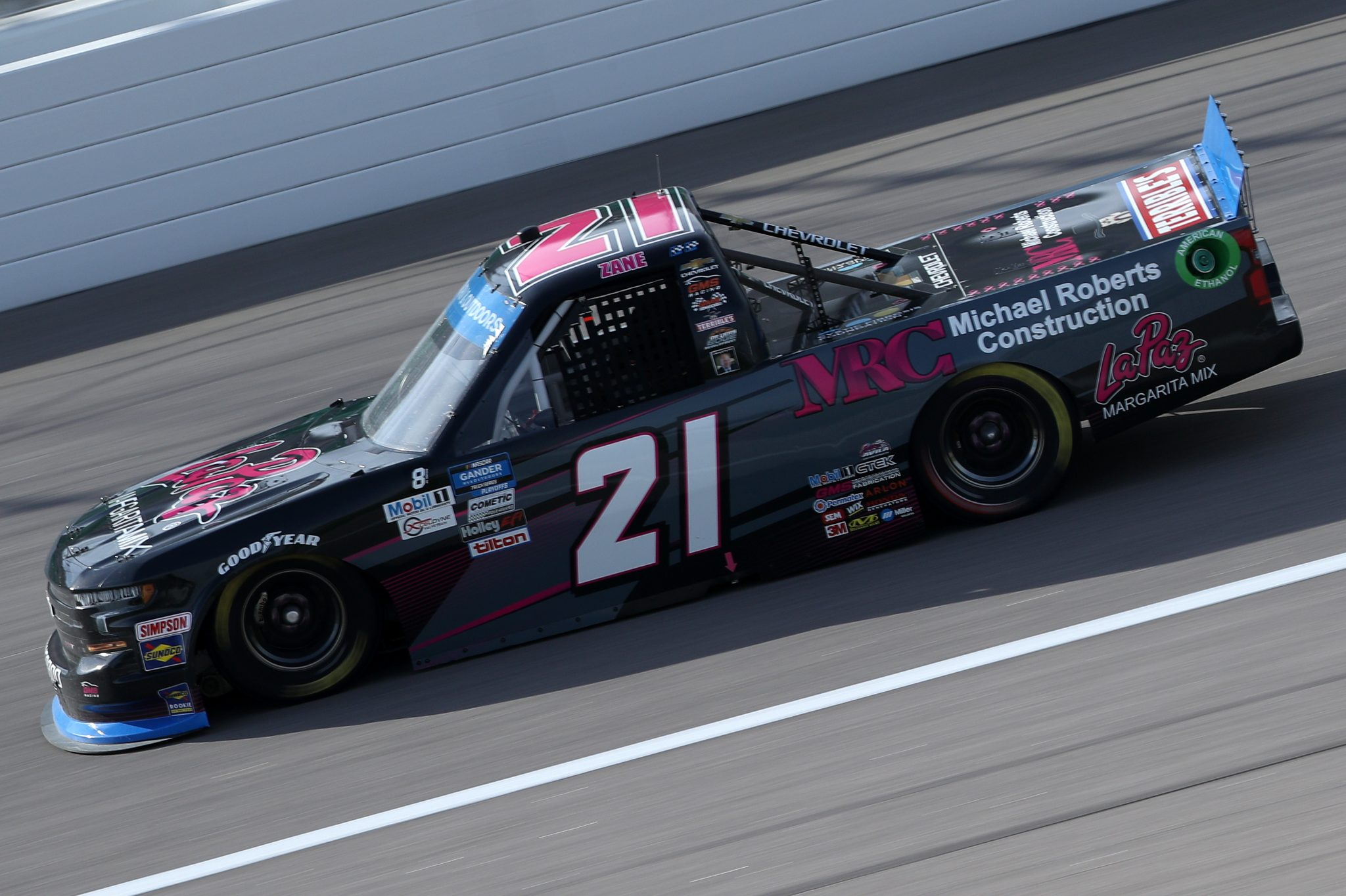 KANSAS CITY, KANSAS - OCTOBER 17: Zane Smith, driver of the #21 Chevrolet, drives during the NASCAR Gander RV & Outdoors Truck Series Clean Harbors 200at Kansas Speedway on October 17, 2020 in Kansas City, Kansas. (Photo by Chris Graythen/Getty Images) | Getty Images