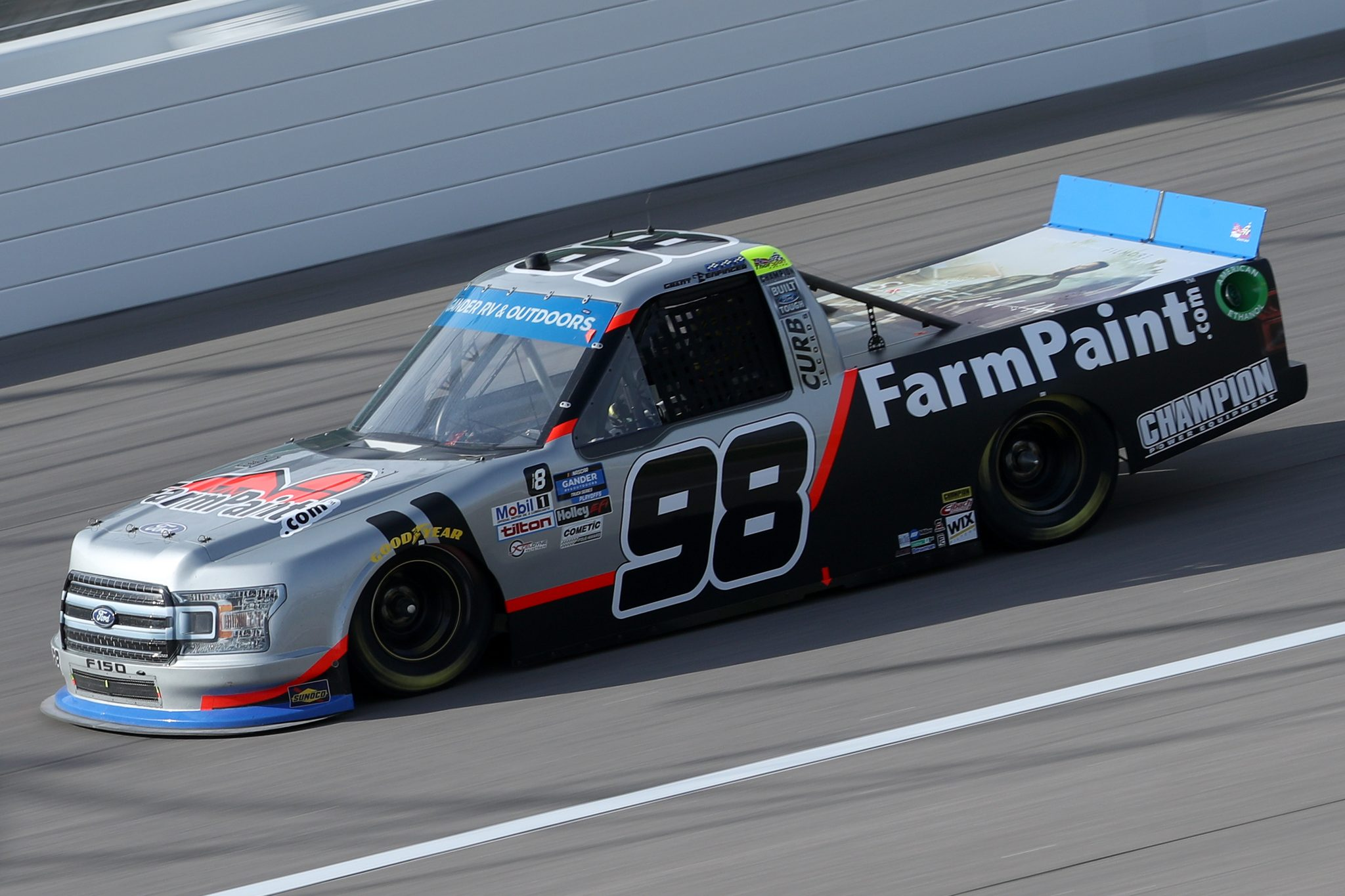 KANSAS CITY, KANSAS - OCTOBER 17: Grant Enfinger, driver of the #98 Farm Paint/Curb Records Ford, drives during the NASCAR Gander RV & Outdoors Truck Series Clean Harbors 200at Kansas Speedway on October 17, 2020 in Kansas City, Kansas. (Photo by Chris Graythen/Getty Images) | Getty Images