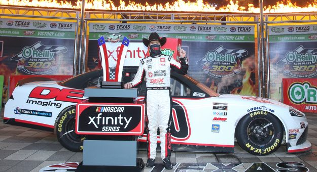 FORT WORTH, TEXAS - OCTOBER 24: Harrison Burton, driver of the #20 DEX Imaging Toyota, celebrates in victory lane after winning the NASCAR Xfinity Series O'Reilly Auto Parts 300 at Texas Motor Speedway on October 24, 2020 in Fort Worth, Texas. (Photo by Chris Graythen/Getty Images) | Getty Images