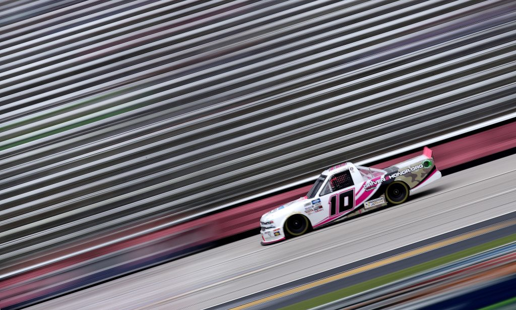 FORT WORTH, TEXAS - OCTOBER 25: Jennifer Jo Cobb, driver of the #10 Fastener Supply Company Chevrolet, drives during the NASCAR Gander RV & Outdoors Truck Series SpeedyCash.com 400 at Texas Motor Speedway on October 25, 2020 in Fort Worth, Texas. (Photo by Chris Graythen/Getty Images)   Getty Images