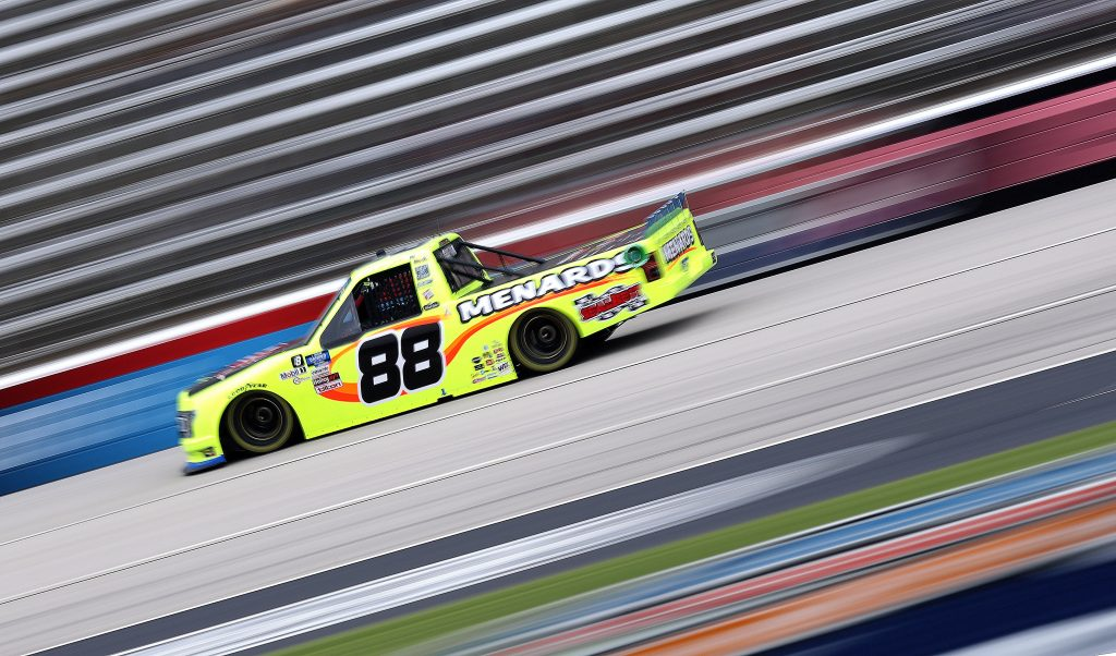 FORT WORTH, TEXAS - OCTOBER 25: Matt Crafton, driver of the #88 Chi Chi's/Menard's Ford, drives during the NASCAR Gander RV & Outdoors Truck Series SpeedyCash.com 400 at Texas Motor Speedway on October 25, 2020 in Fort Worth, Texas. (Photo by Chris Graythen/Getty Images) | Getty Images