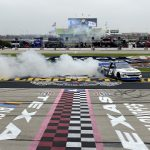 FORT WORTH, TEXAS - OCTOBER 25: Sheldon Creed, driver of the #2 Chevy Truck Month Chevrolet, celebrates with a burnout after winning the NASCAR Gander RV & Outdoors Truck Series SpeedyCash.com 400 at Texas Motor Speedway on October 25, 2020 in Fort Worth, Texas. (Photo by Jared C. Tilton/Getty Images) | Getty Images