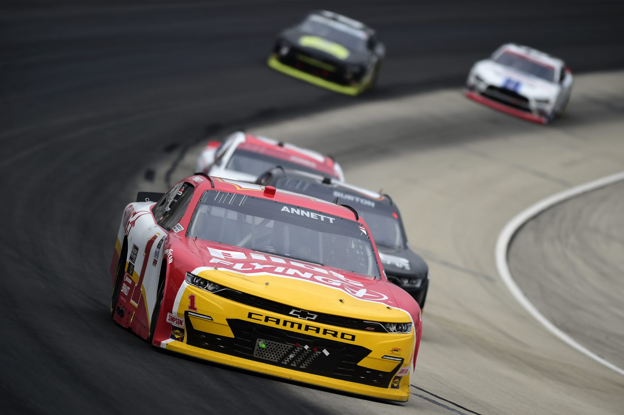 FORT WORTH, TEXAS - OCTOBER 24: Michael Annett, driver of the #1 Pilot/Flying J Chevrolet, leads the field during the NASCAR Xfinity Series O'Reilly Auto Parts 300 at Texas Motor Speedway on October 24, 2020 in Fort Worth, Texas. (Photo by Jared C. Tilton/Getty Images) | Getty Images