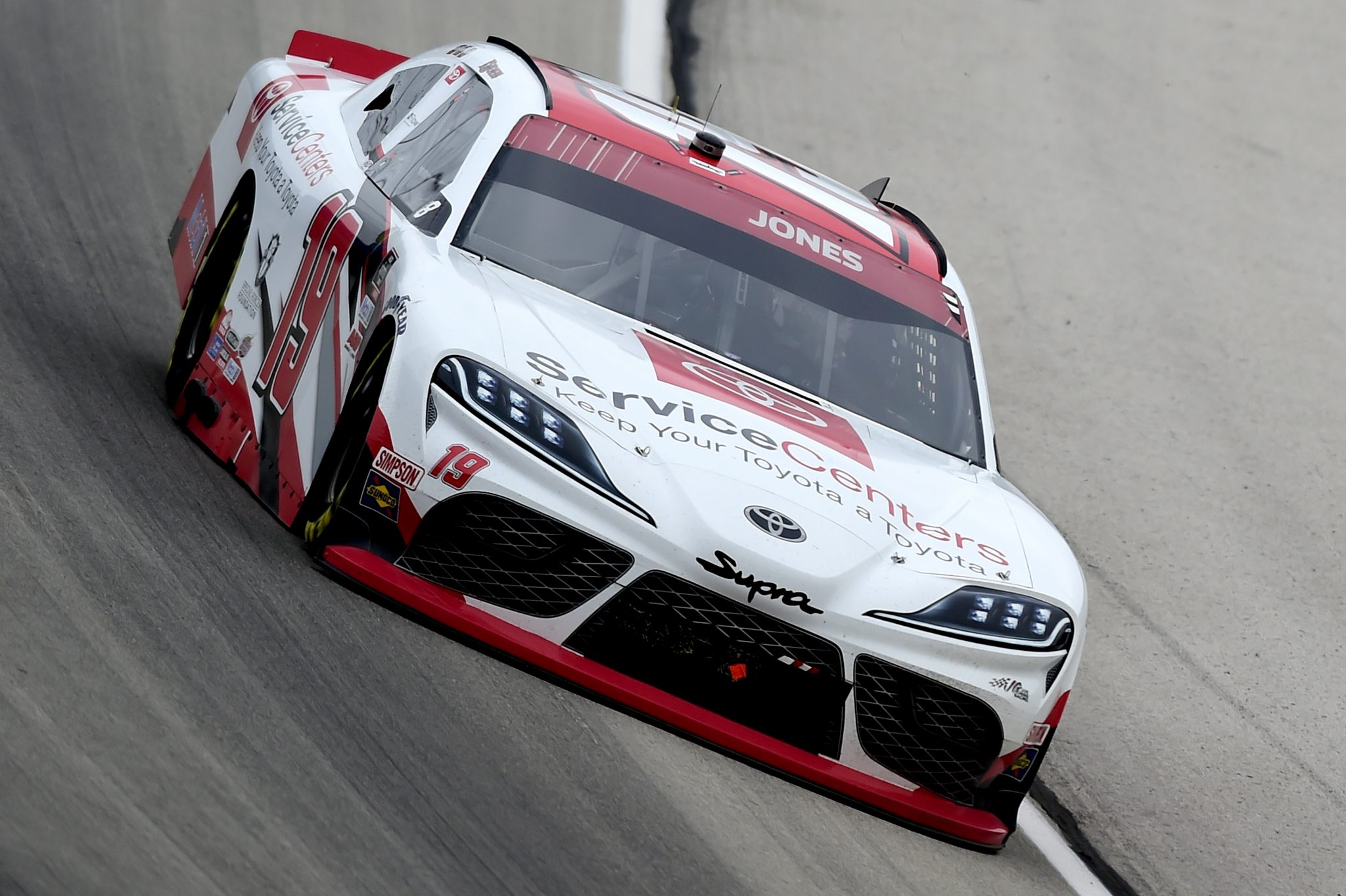 FORT WORTH, TEXAS - OCTOBER 24: Brandon Jones, driver of the #19 Toyota Service Centers Toyota, drives during the NASCAR Xfinity Series O'Reilly Auto Parts 300 at Texas Motor Speedway on October 24, 2020 in Fort Worth, Texas. (Photo by Jared C. Tilton/Getty Images) | Getty Images