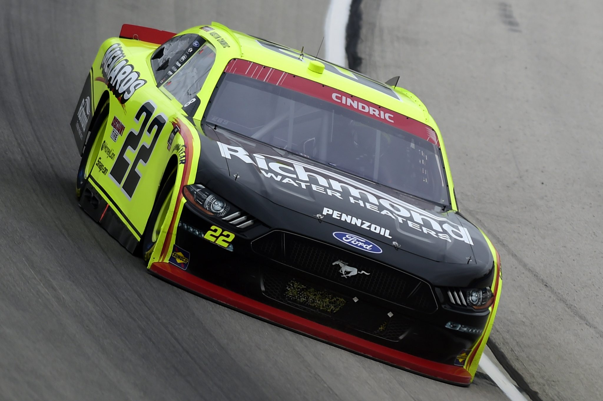 FORT WORTH, TEXAS - OCTOBER 24: Austin Cindric, driver of the #22 Menards/Richmond Ford, drives during the NASCAR Xfinity Series O'Reilly Auto Parts 300 at Texas Motor Speedway on October 24, 2020 in Fort Worth, Texas. (Photo by Jared C. Tilton/Getty Images) | Getty Images