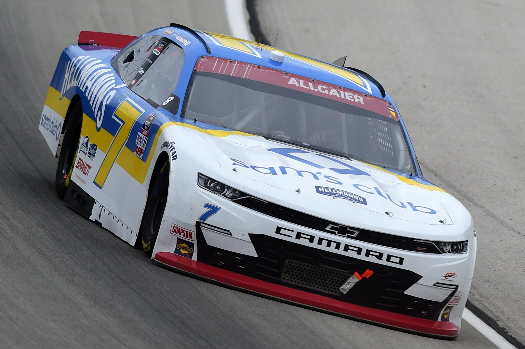 FORT WORTH, TEXAS - OCTOBER 24: Justin Allgaier, driver of the #7 Sam's Club/Hellmann's Chevrolet, drives during the NASCAR Xfinity Series O'Reilly Auto Parts 300 at Texas Motor Speedway on October 24, 2020 in Fort Worth, Texas. (Photo by Jared C. Tilton/Getty Images) | Getty Images