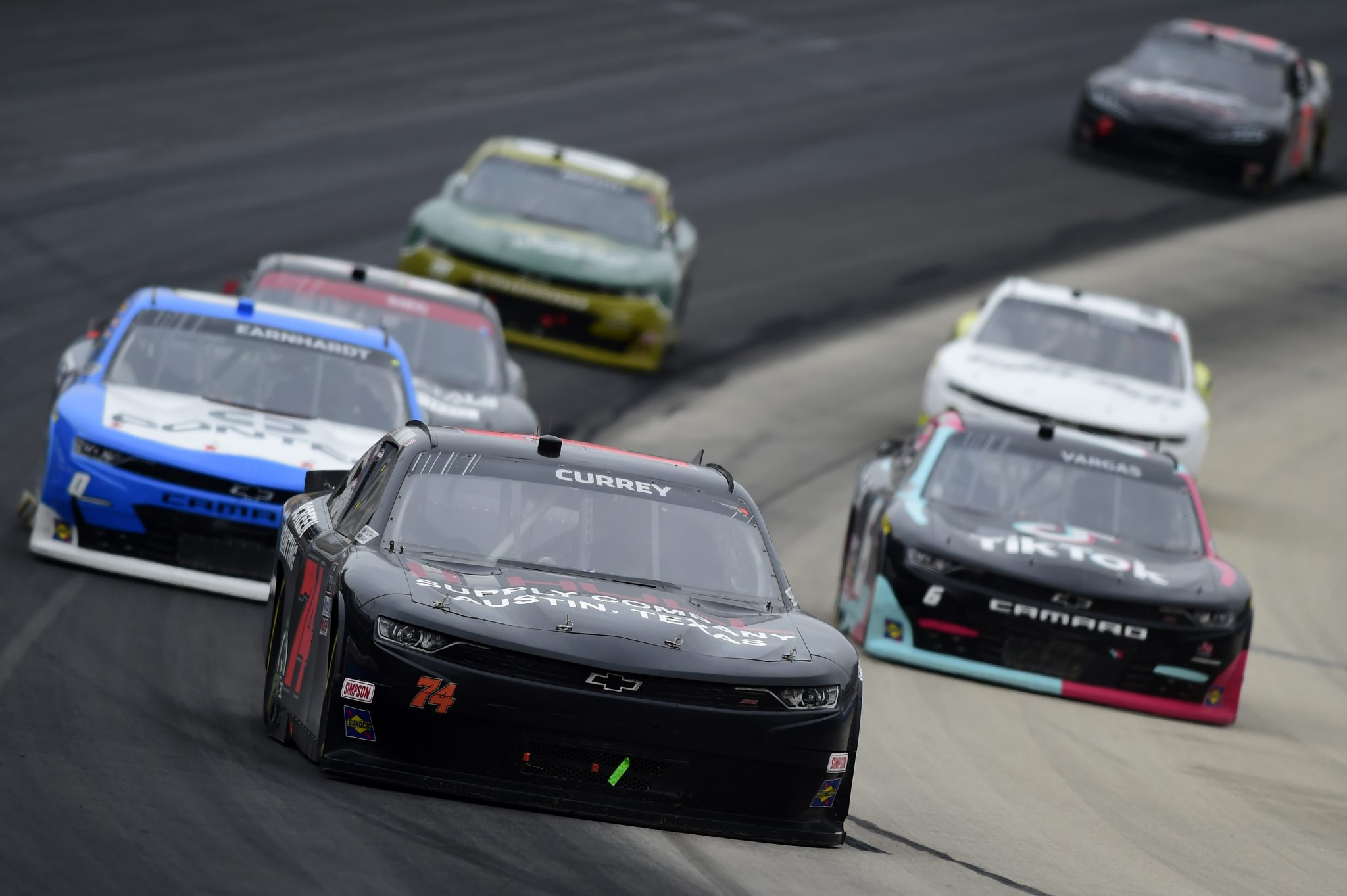 FORT WORTH, TEXAS - OCTOBER 24: Bayley Currey, driver of the #74 Chevrolet, leads the field during the NASCAR Xfinity Series O'Reilly Auto Parts 300 at Texas Motor Speedway on October 24, 2020 in Fort Worth, Texas. (Photo by Jared C. Tilton/Getty Images) | Getty Images