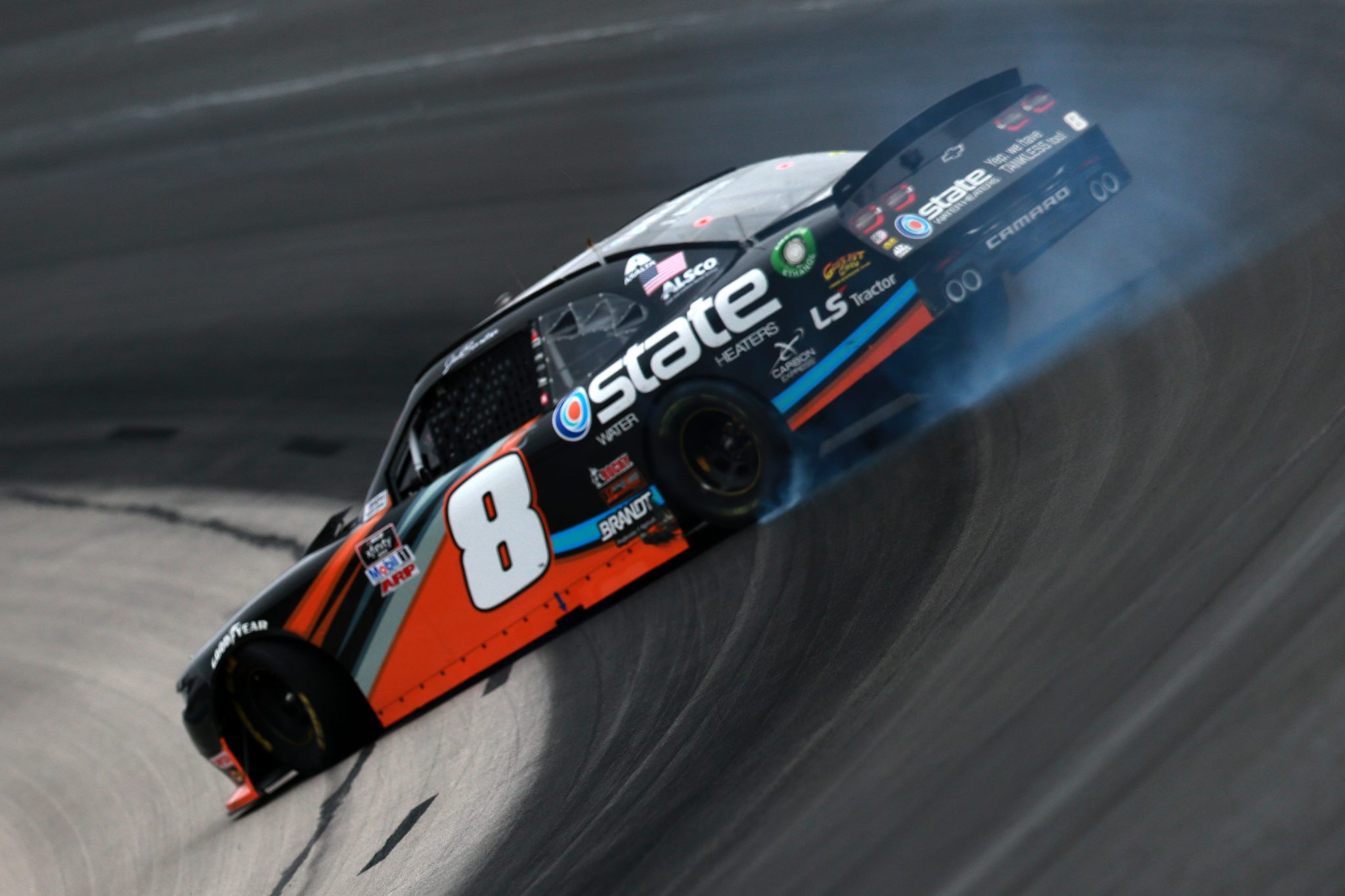 FORT WORTH, TEXAS - OCTOBER 24: Jeb Burton, driver of the #8 State Water Heaters Chevrolet, spins during the NASCAR Xfinity Series O'Reilly Auto Parts 300 at Texas Motor Speedway on October 24, 2020 in Fort Worth, Texas. (Photo by Sean Gardner/Getty Images) | Getty Images