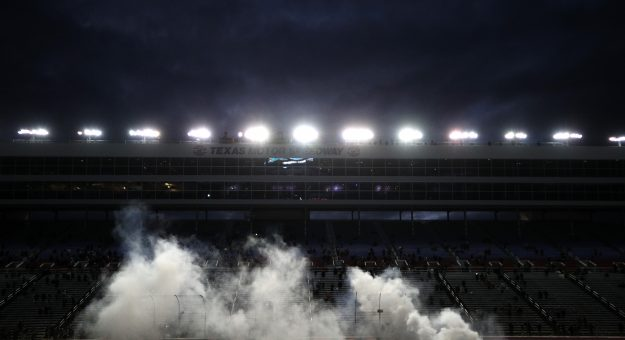FORT WORTH, TEXAS - OCTOBER 28: Kyle Busch, driver of the #18 Skittles Zombie Toyota, celebrates with a burnout after winning the NASCAR Cup Series Autotrader EchoPark Automotive 500 at Texas Motor Speedway on October 28, 2020 in Fort Worth, Texas. (Photo by Chris Graythen/Getty Images) | Getty Images