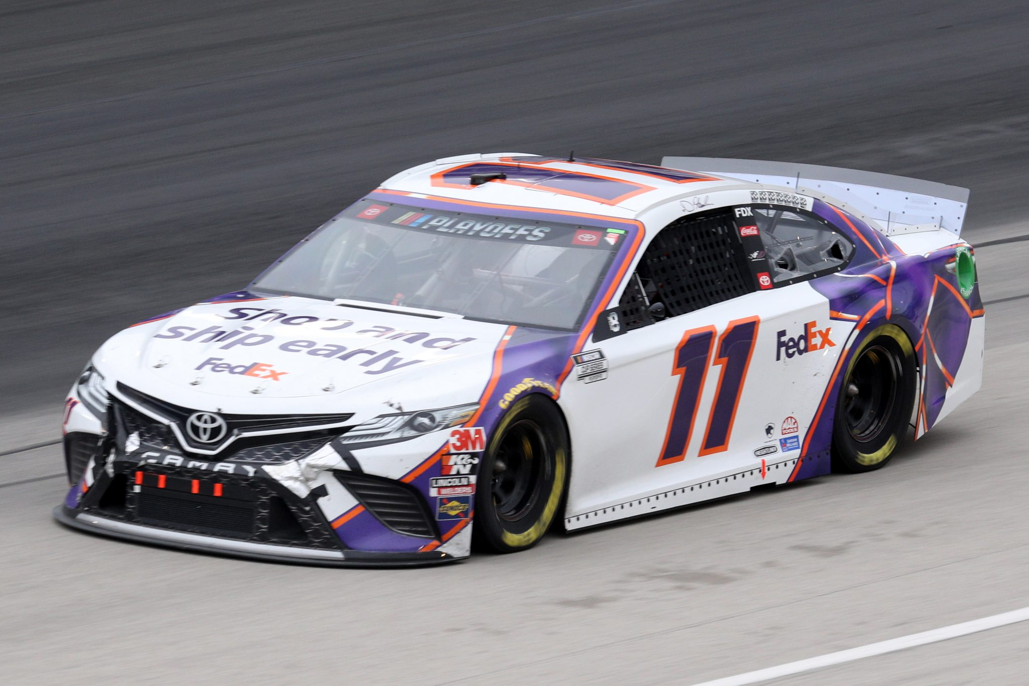 FORT WORTH, TEXAS - OCTOBER 28: Denny Hamlin, driver of the #11 FedEx Shipathon Toyota, drives during the NASCAR Cup Series Autotrader EchoPark Automotive 500 at Texas Motor Speedway on October 28, 2020 in Fort Worth, Texas. (Photo by Chris Graythen/Getty Images) | Getty Images
