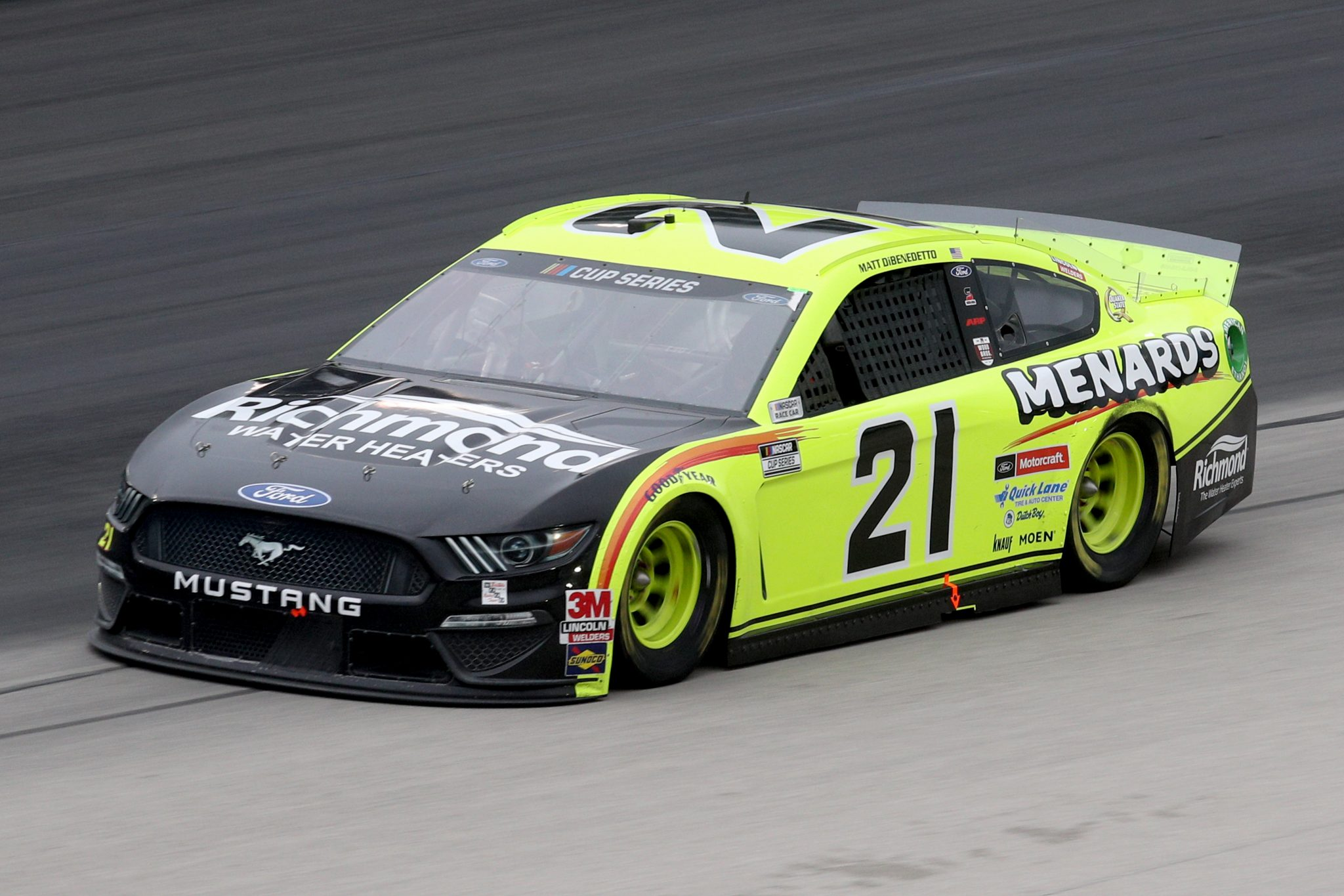 FORT WORTH, TEXAS - OCTOBER 28: Matt DiBenedetto, driver of the #21 Menards/Richmond Ford, drives during the NASCAR Cup Series Autotrader EchoPark Automotive 500 at Texas Motor Speedway on October 28, 2020 in Fort Worth, Texas. (Photo by Chris Graythen/Getty Images)   Getty Images